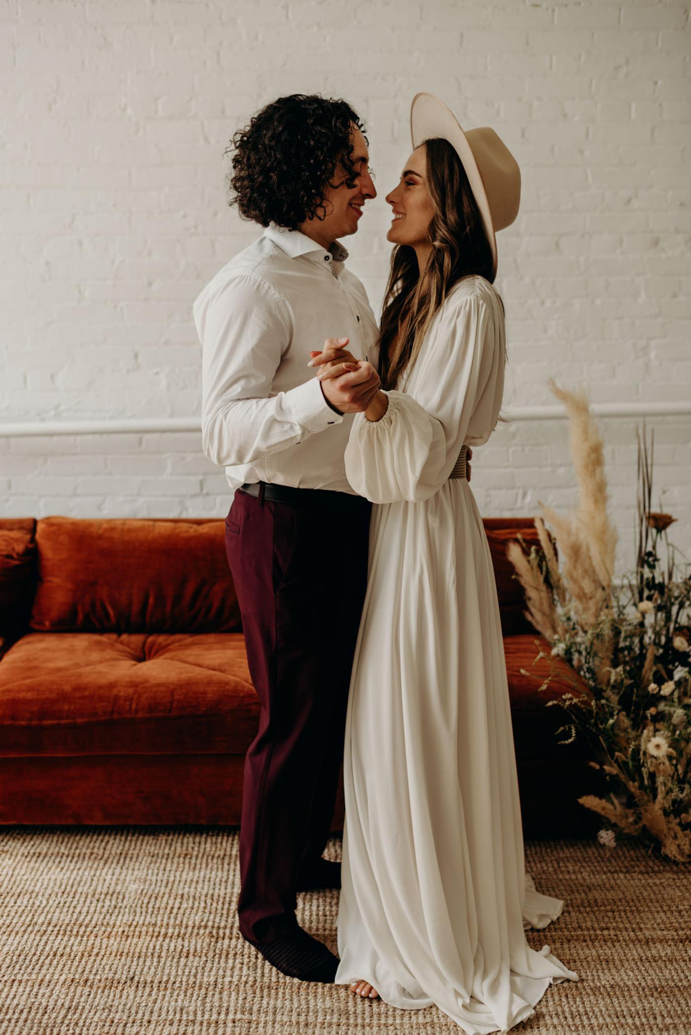 Bohemian midcentury loft elopement