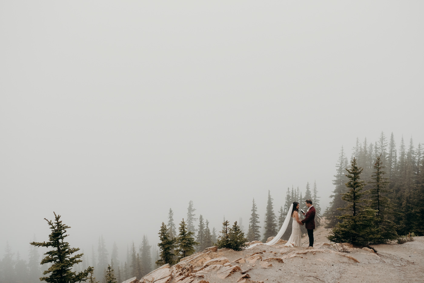 Banff National Park elopement at misty Peyto Lake