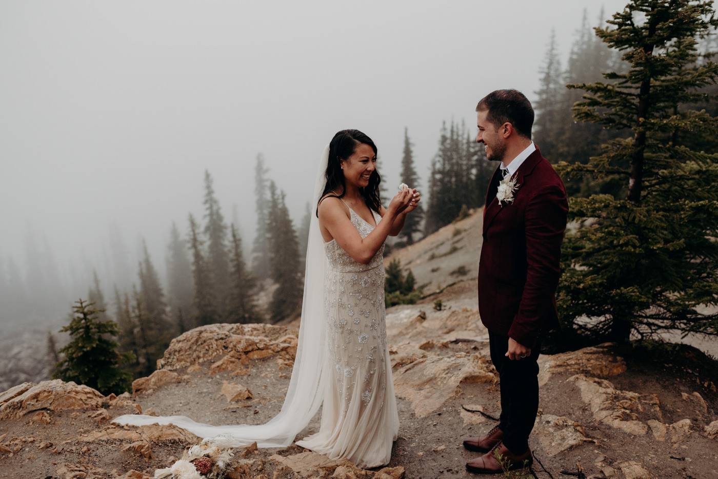 emotional elopement at Peyto Lake in Banff National Park