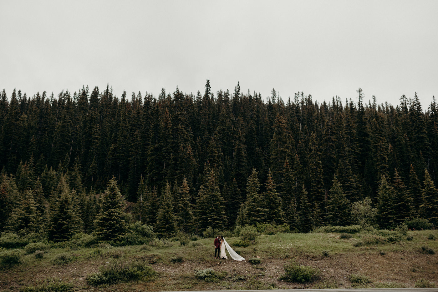 rainy Banff National Park elopement