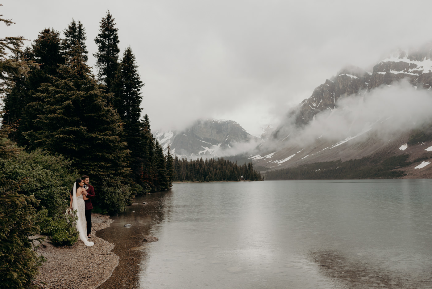 Bow lake elopement photos