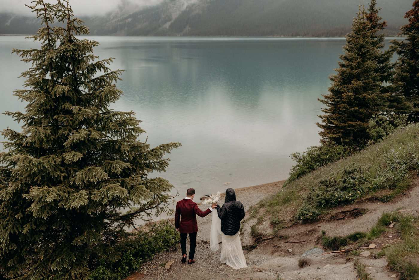 Bow Lake elopement photos in the rain