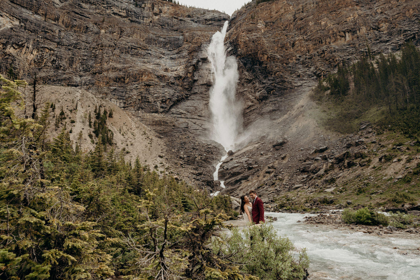 Takakkaw falls elopement photos