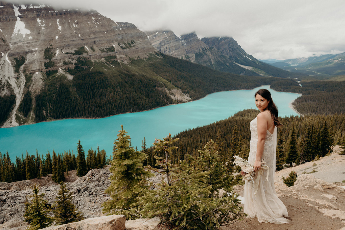 bride at Peyto Lake