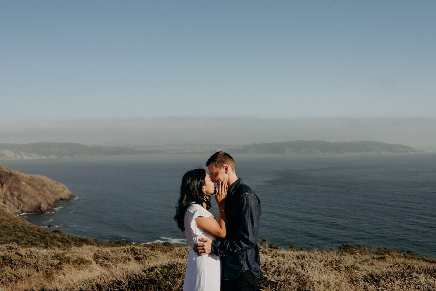 Engagement shoot at Marin Headlands at sunset