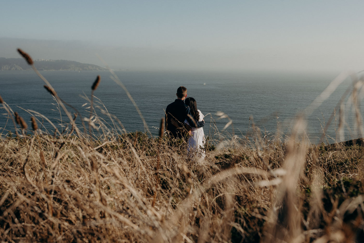 dreamy sunset Marin Headlands couple shoot