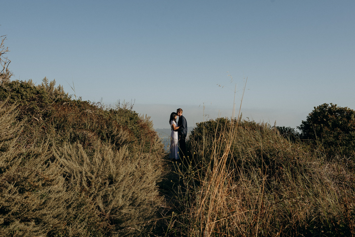 Forehead kisses at sunset at Marin Headlands
