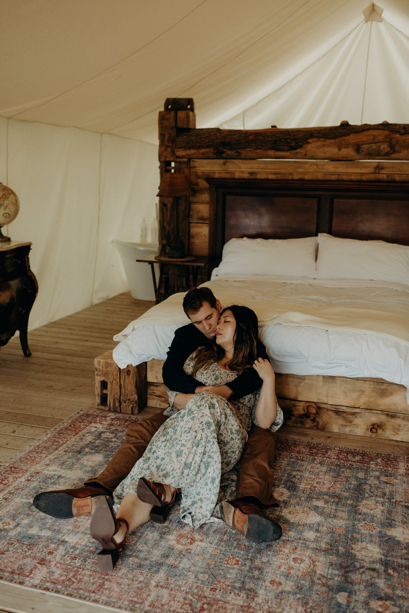 Dreamy Glamping Whispering Springs engagement shoot