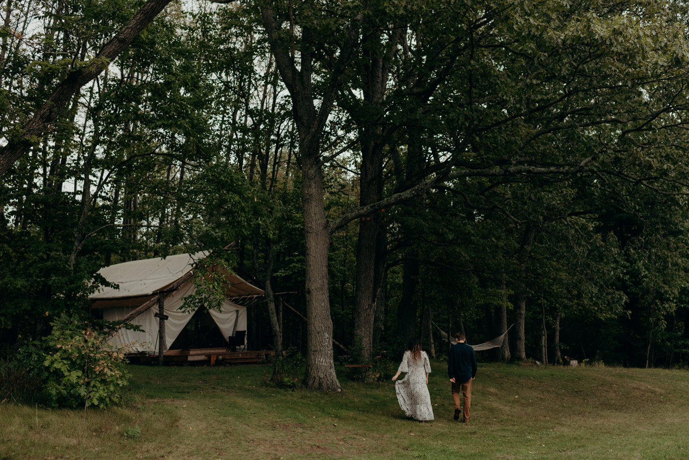 Glamping engagement at Whispering Springs