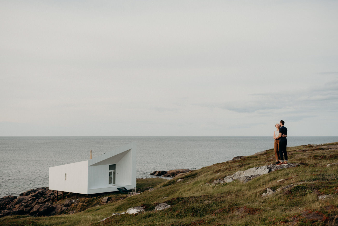 Couple portraits at Squish studio on Fogo Island