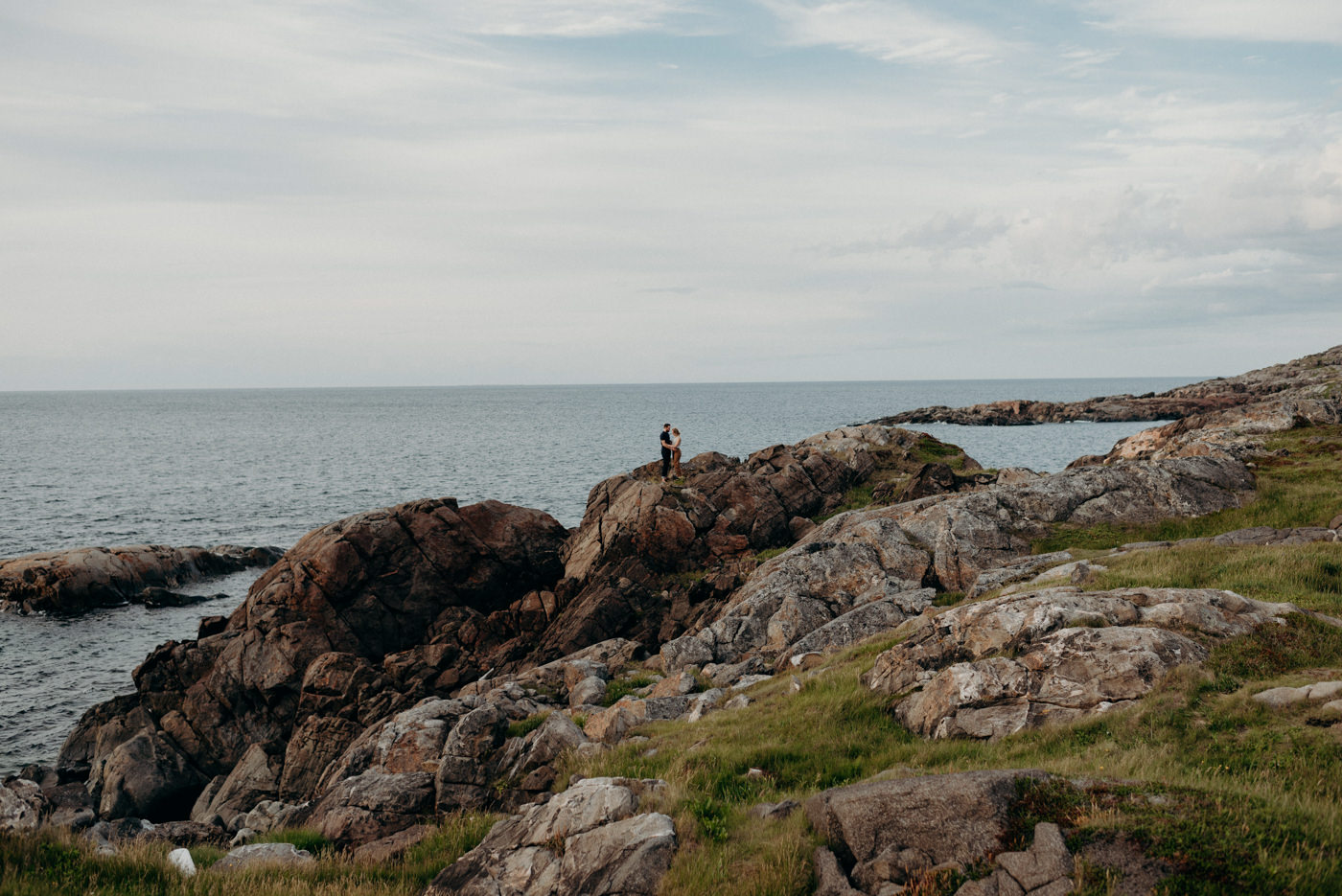 Rocky shore Couple shoot on Fogo Island