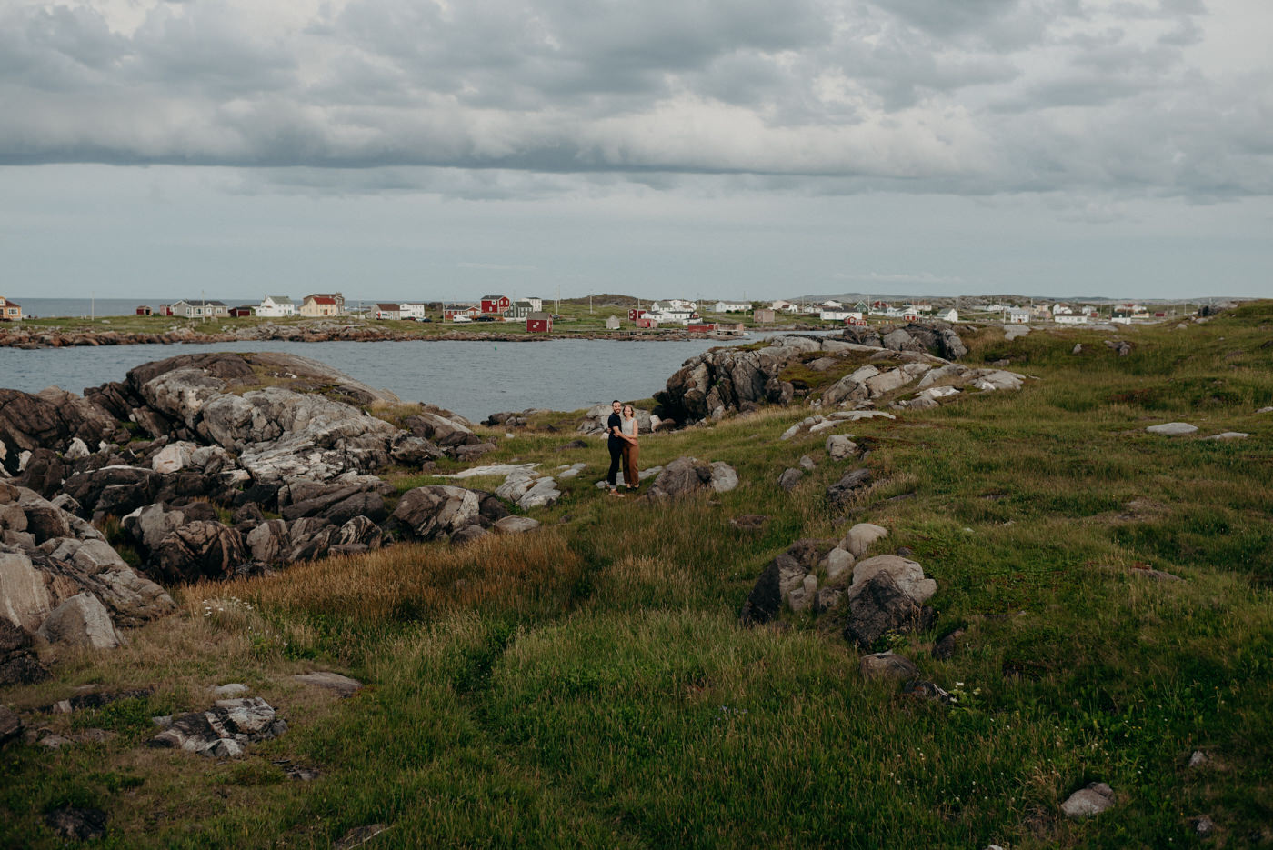 Tilting harbour Fogo island couple shoot