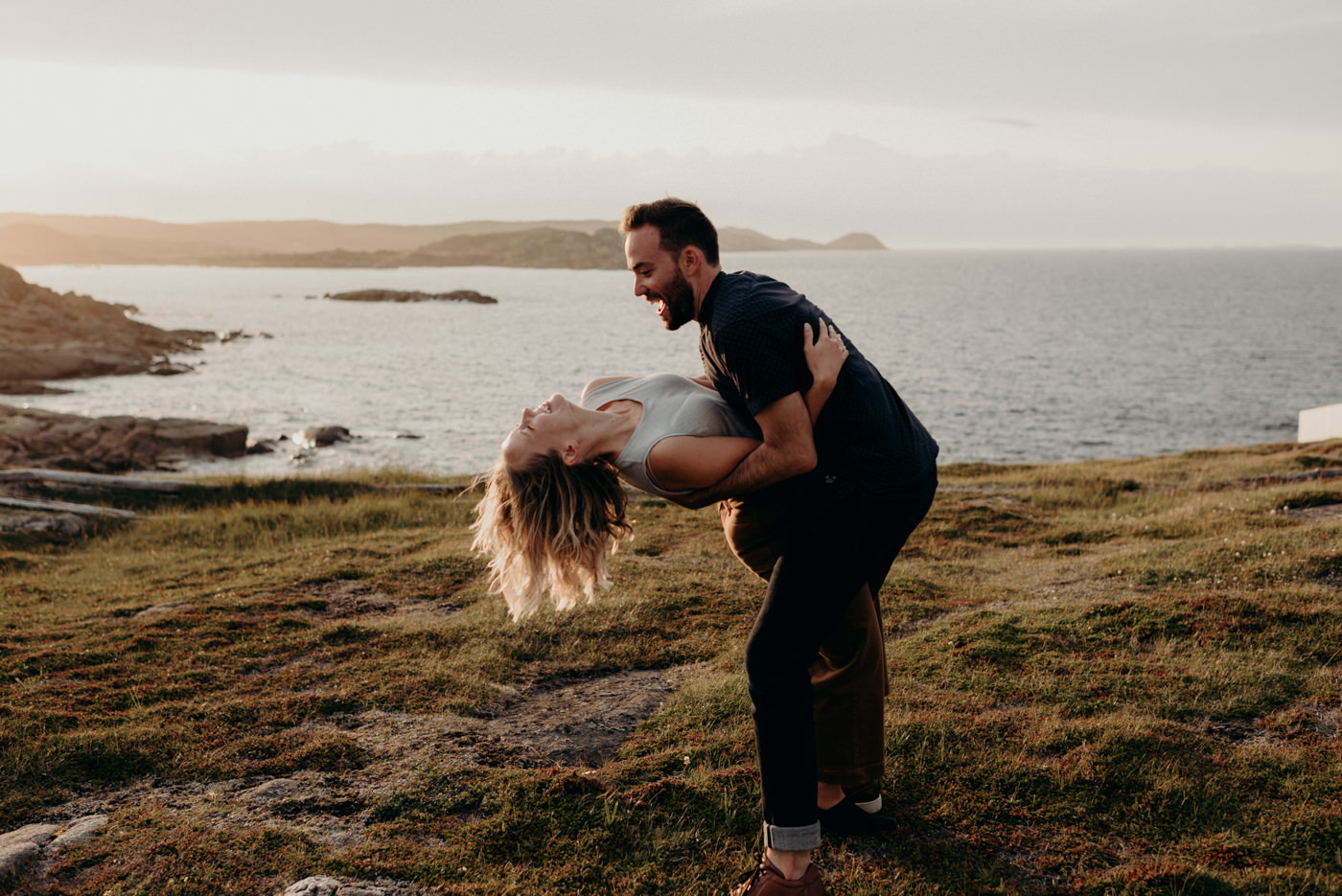 fun couple shoot on Fogo Island at Squish Studio