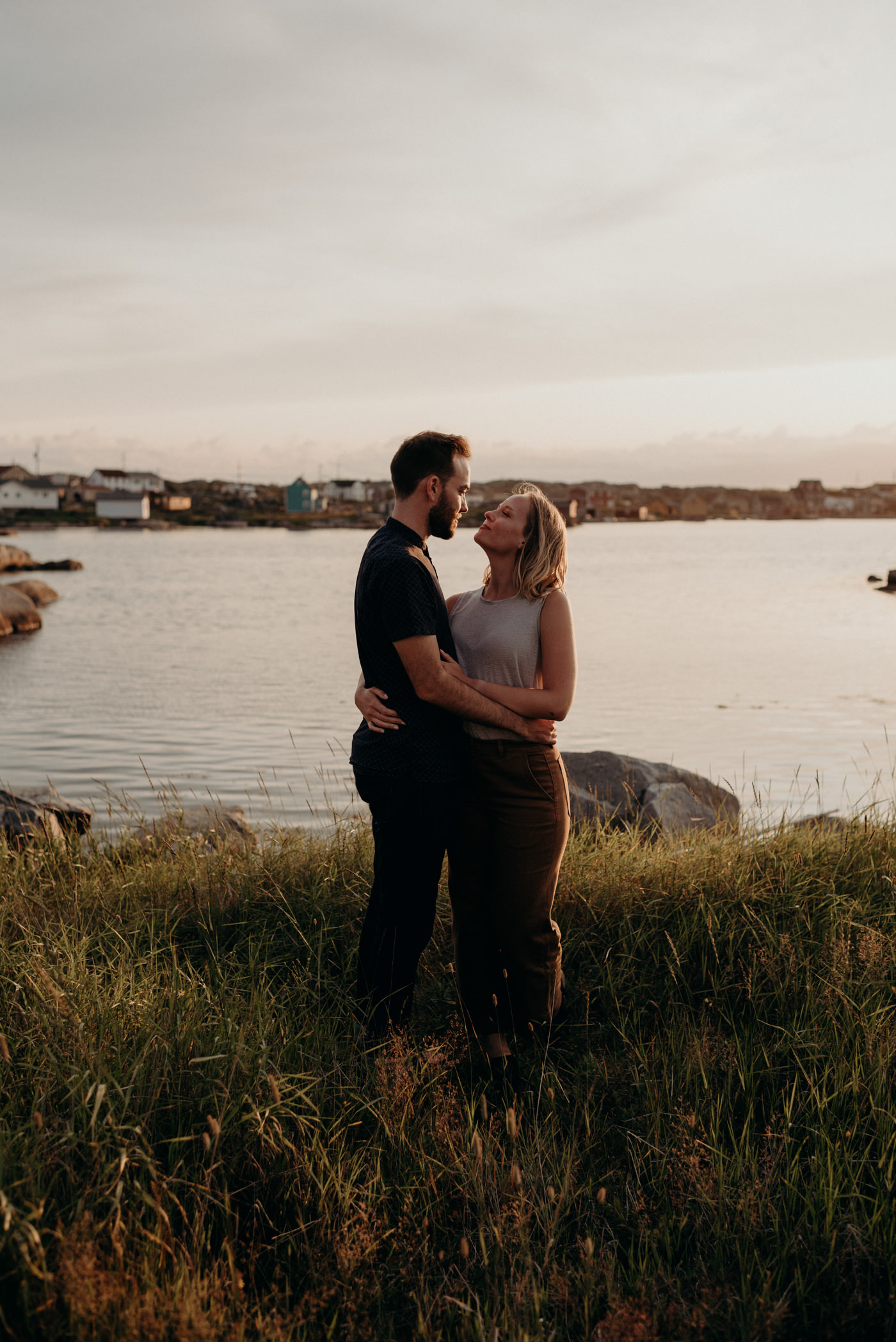 Tilting engagement shoot at sunset