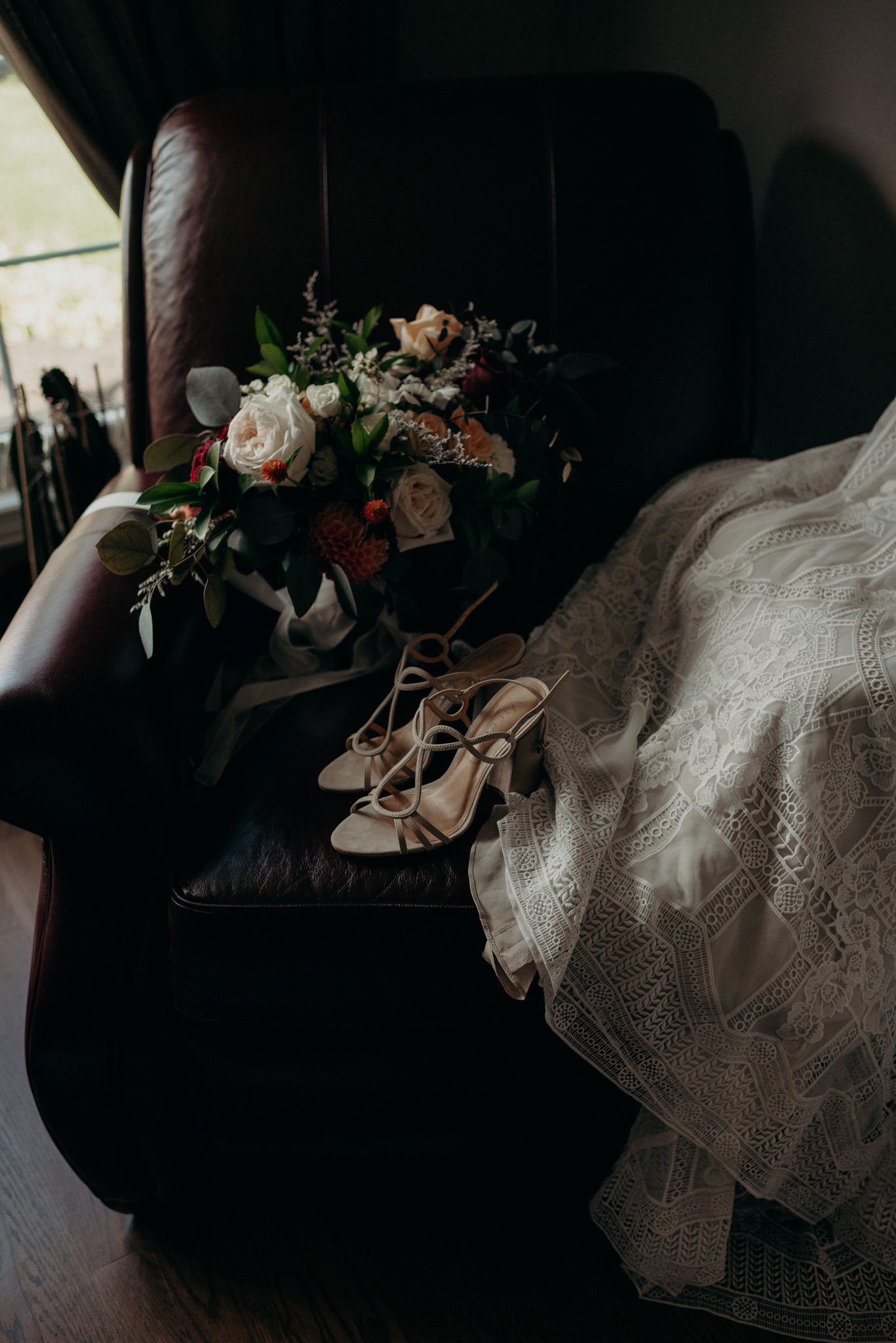 wedding dress and shoes detail shot