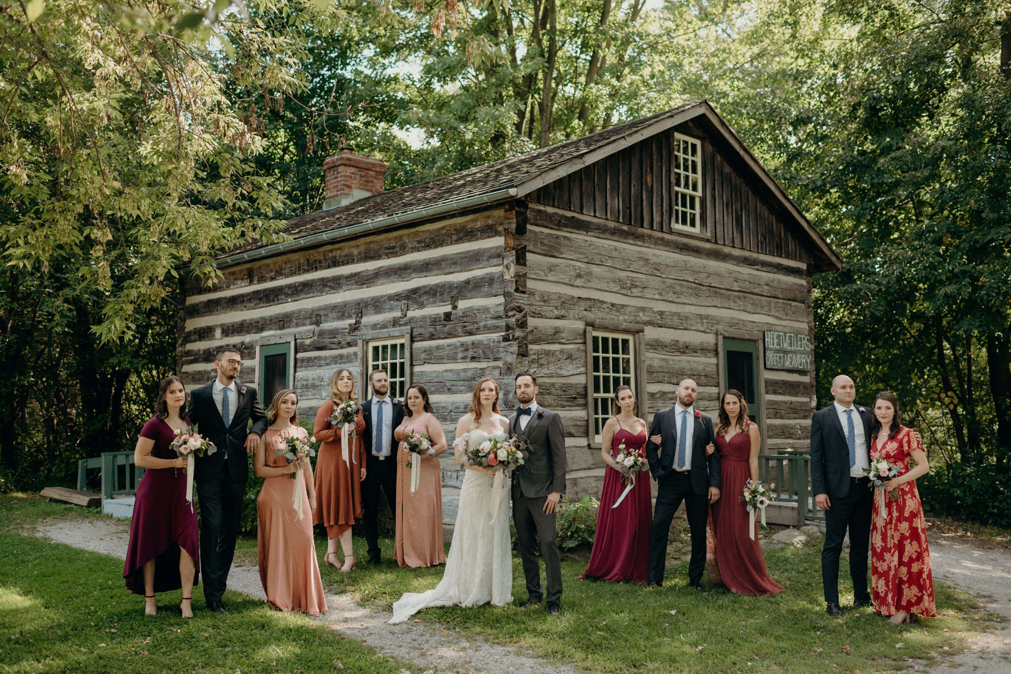 Wedding party portrait at Waterloo Region Museum