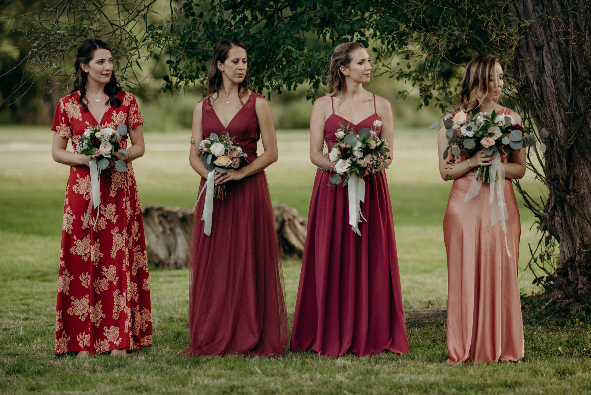 bridesmaids standing during ceremony