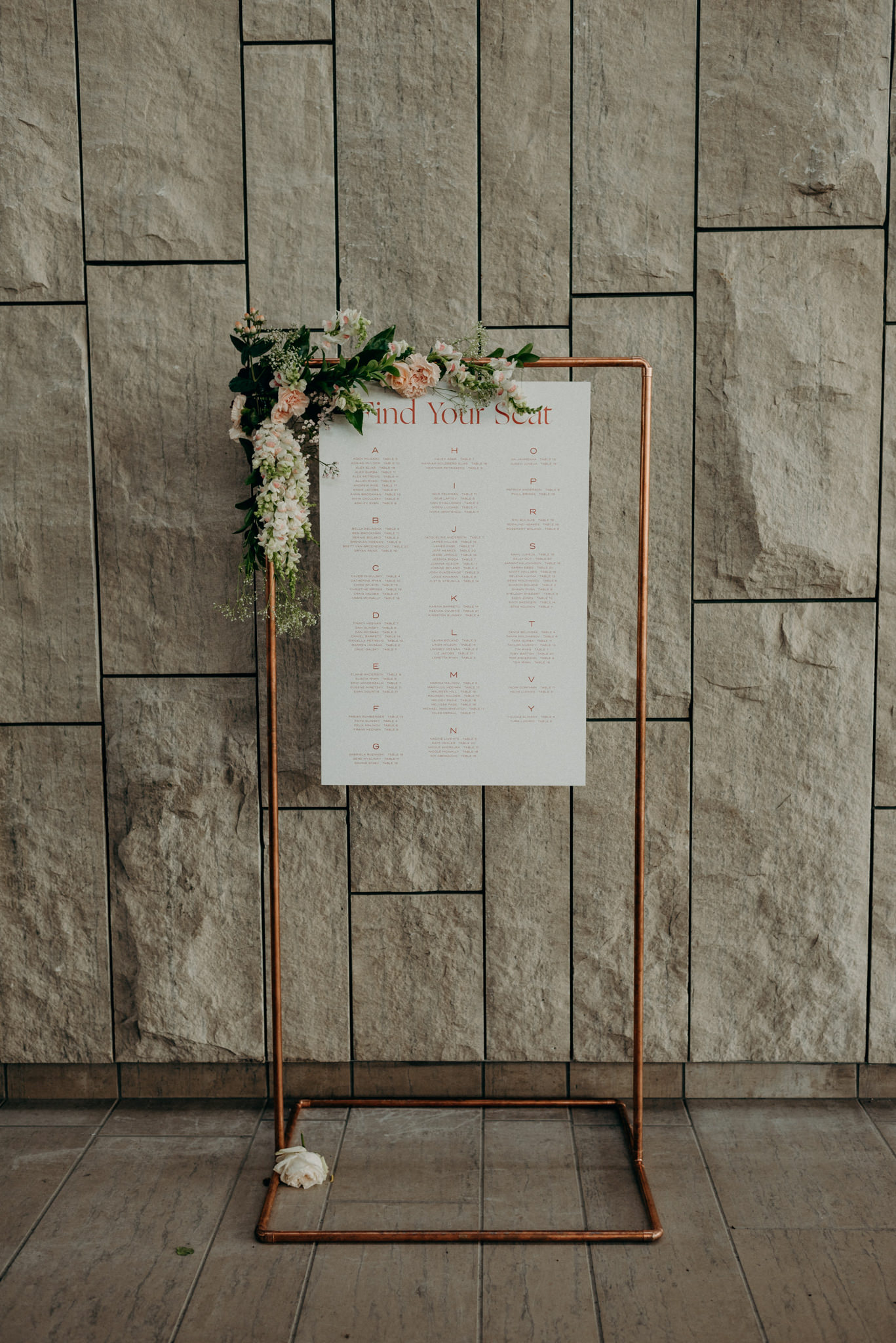 Seating chart with flowers