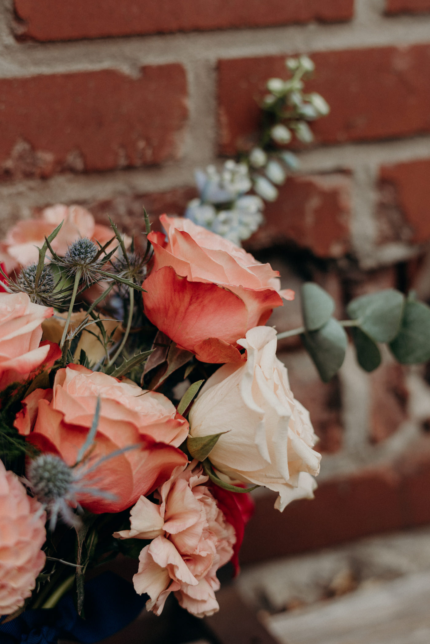 pink roses and eucalyptus bouquet