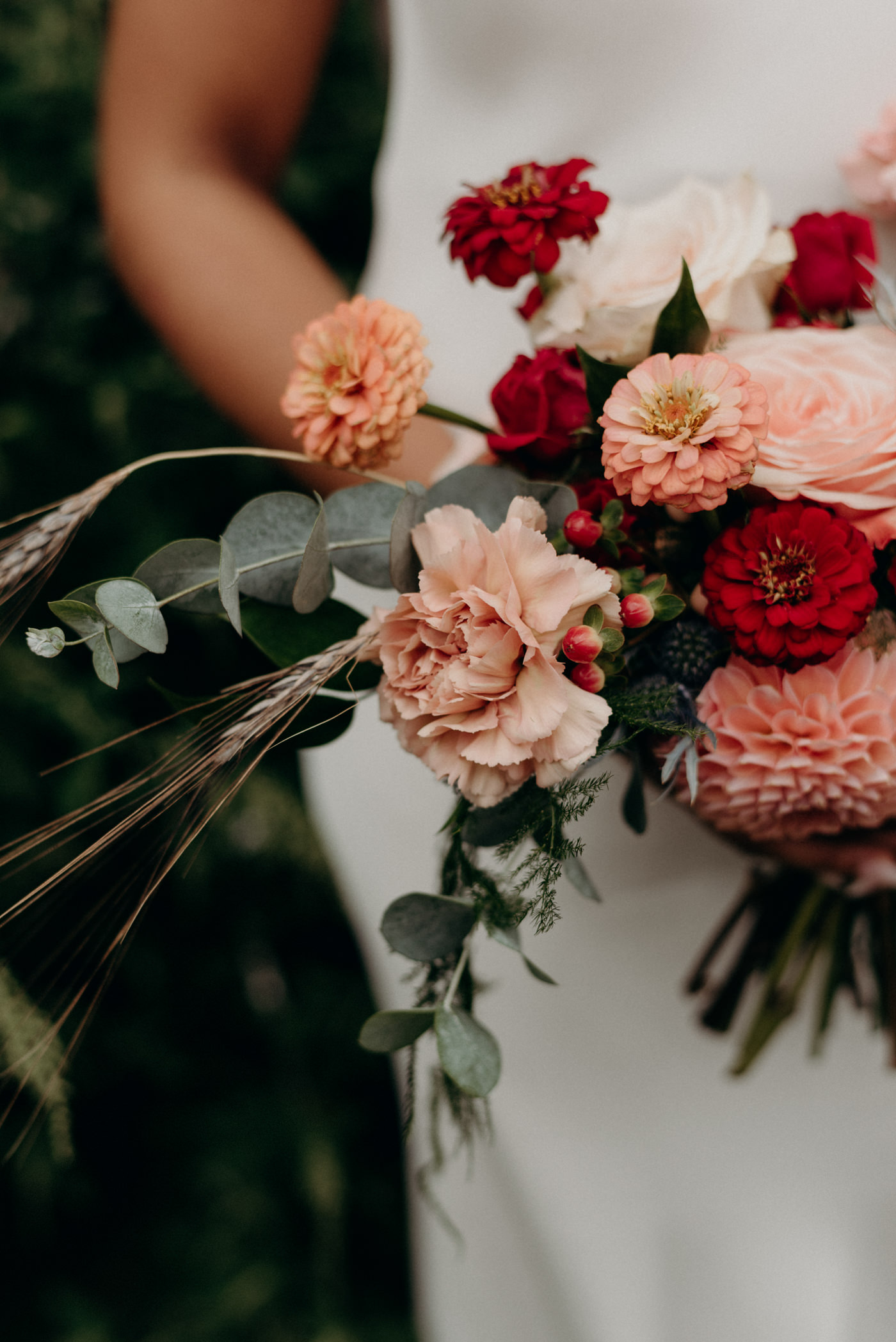 blush and dark red wedding bouquet