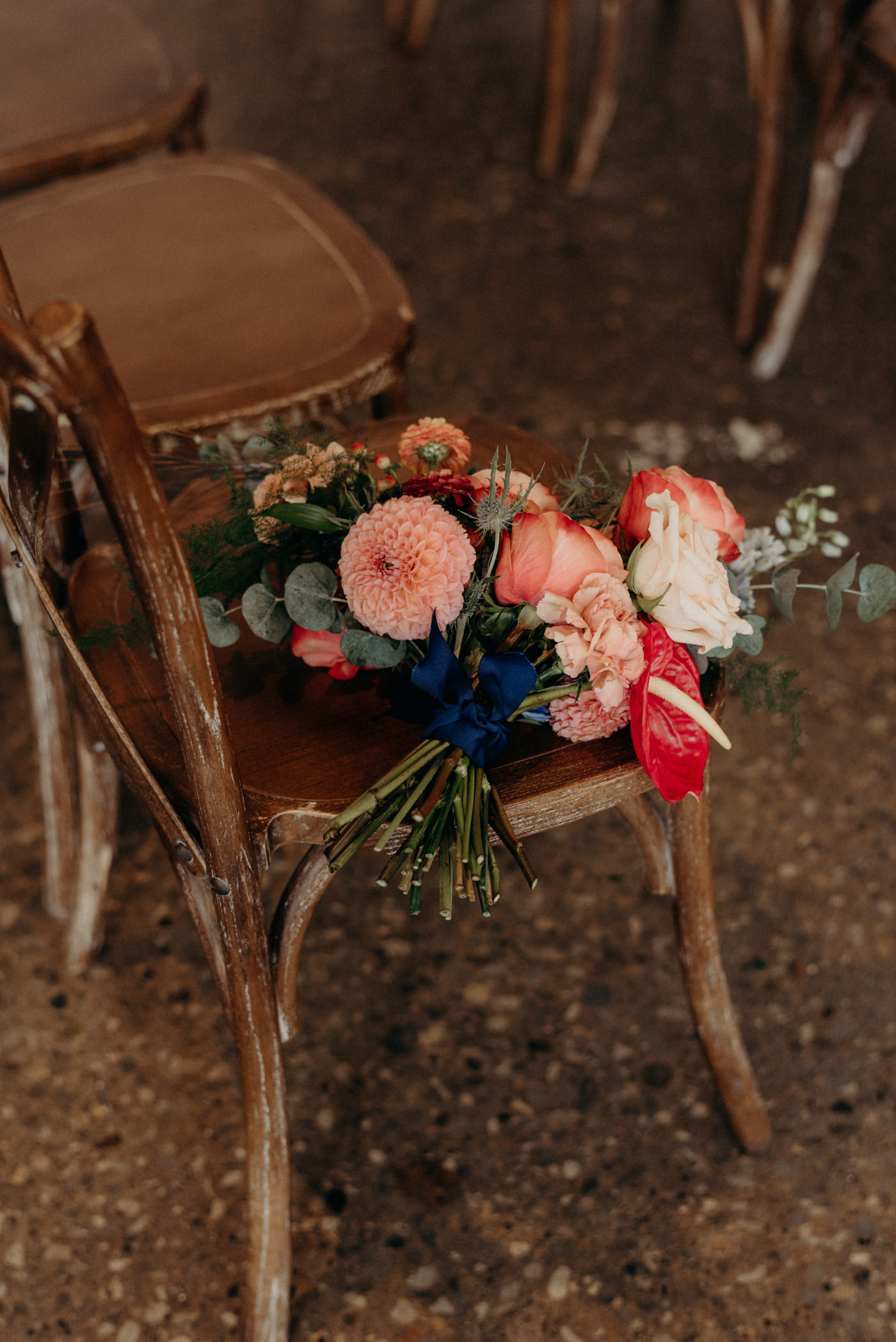 bouquet on wood chair