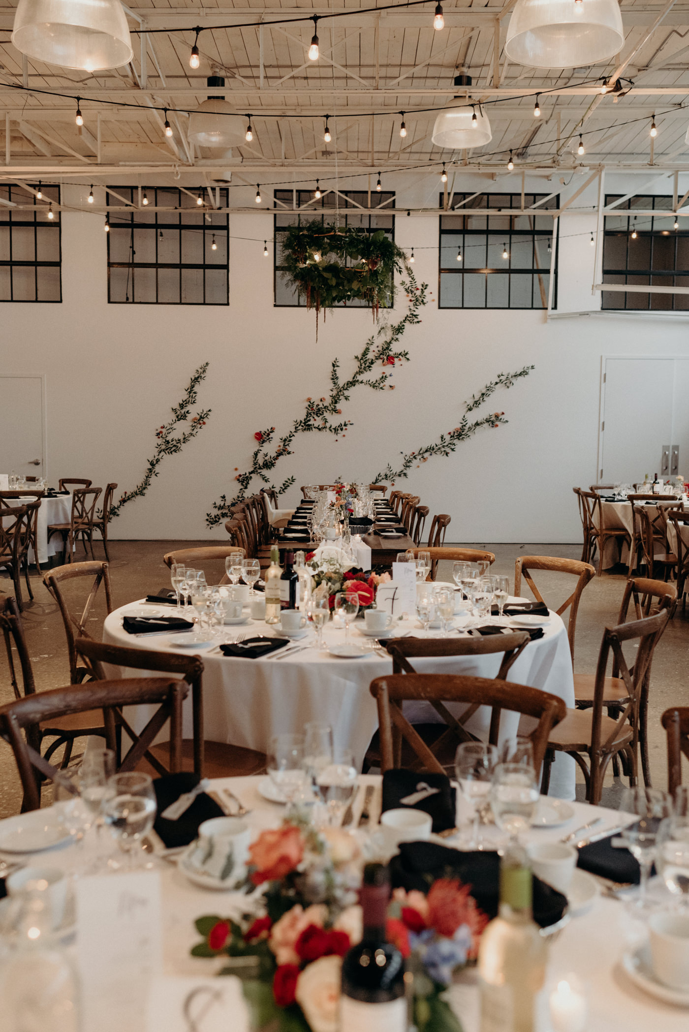 Airship37 Wedding reception with statement floral wall