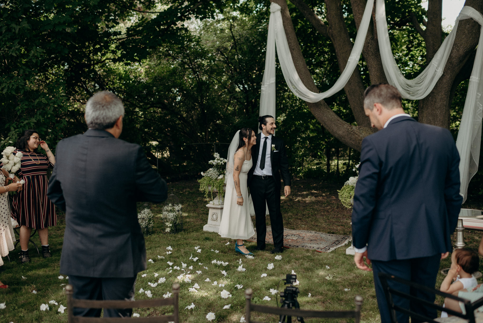 tiny backyard wedding with family in Toronto