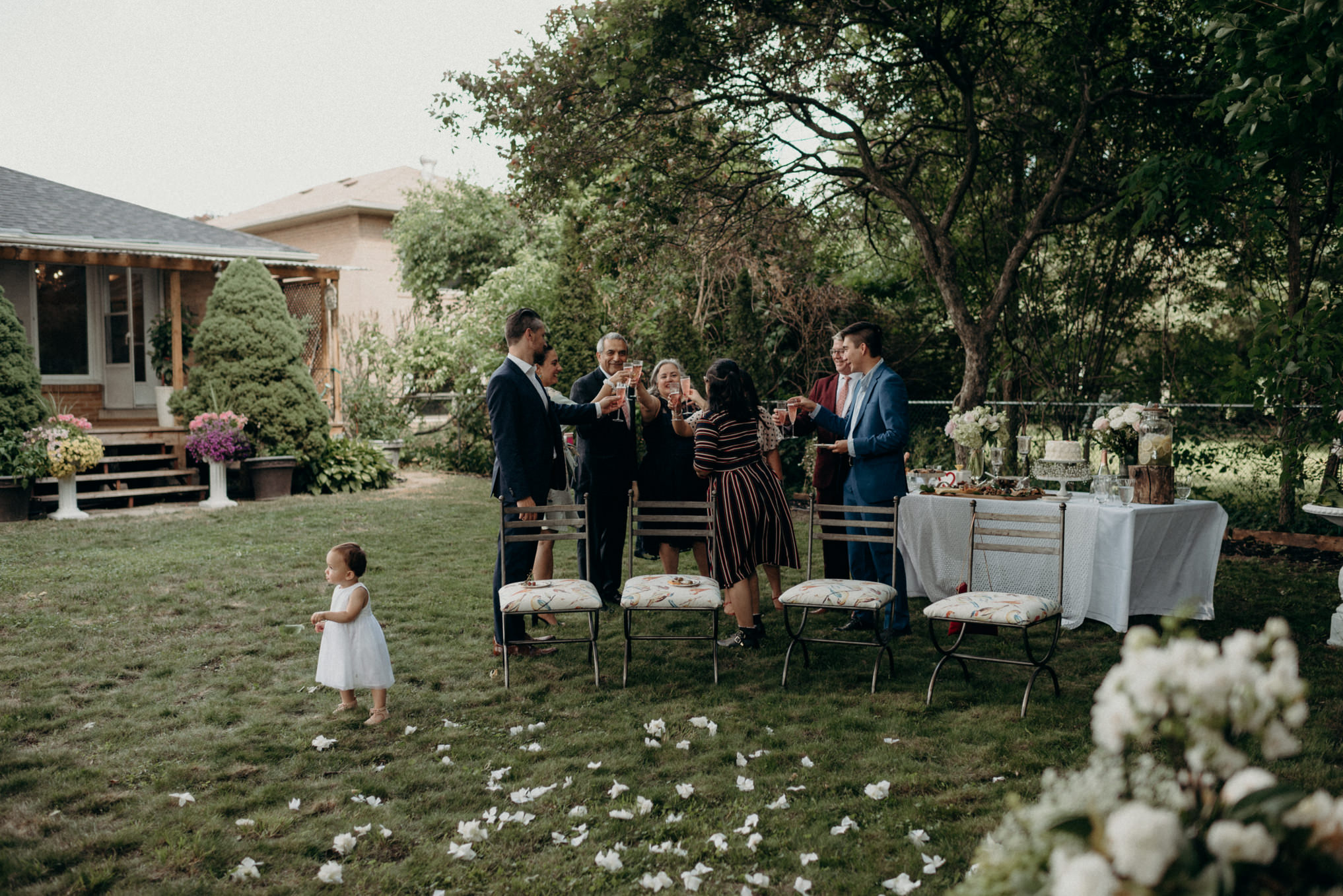 backyard wedding champagne toast