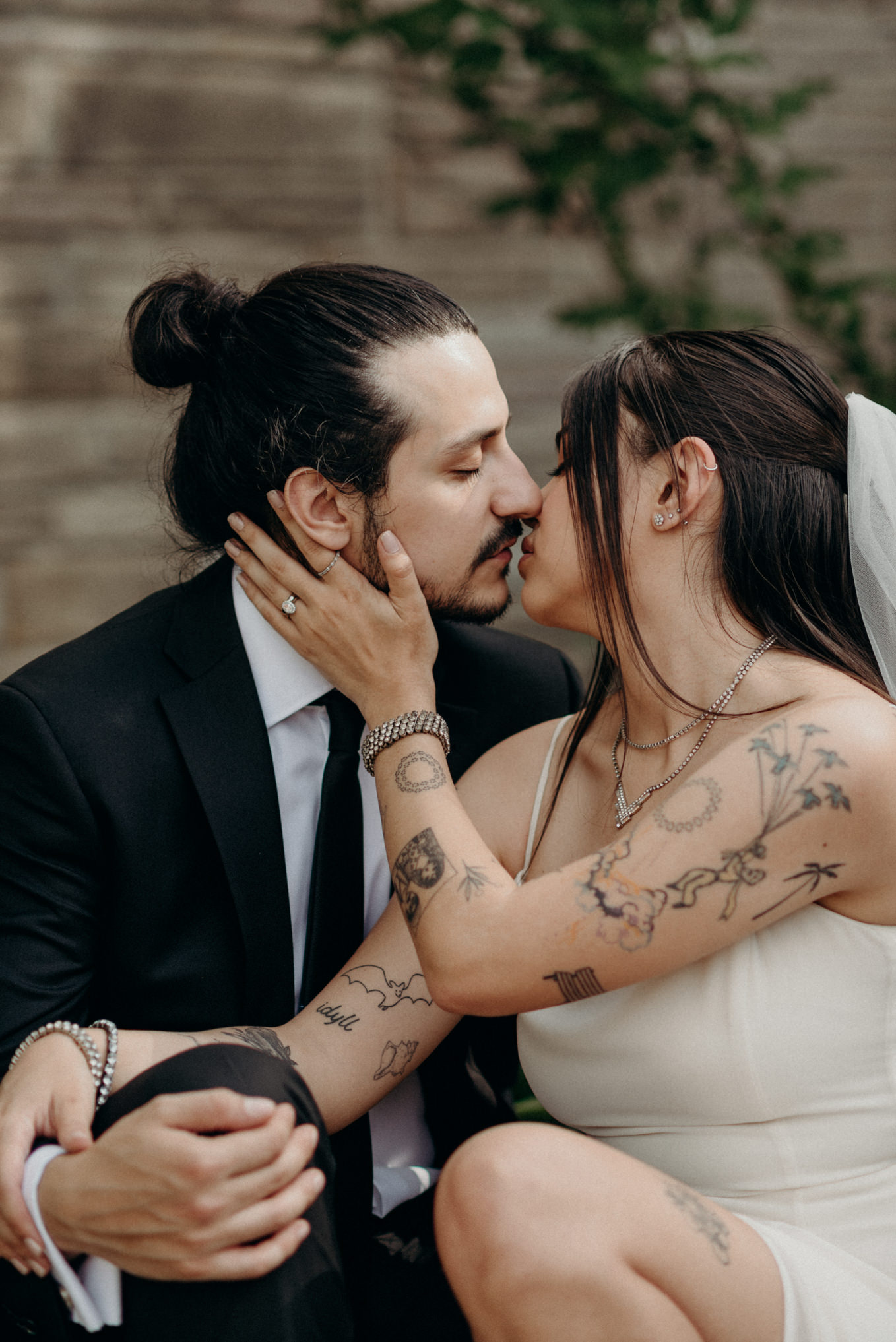 tattooed bride, intimate covid backyard wedding