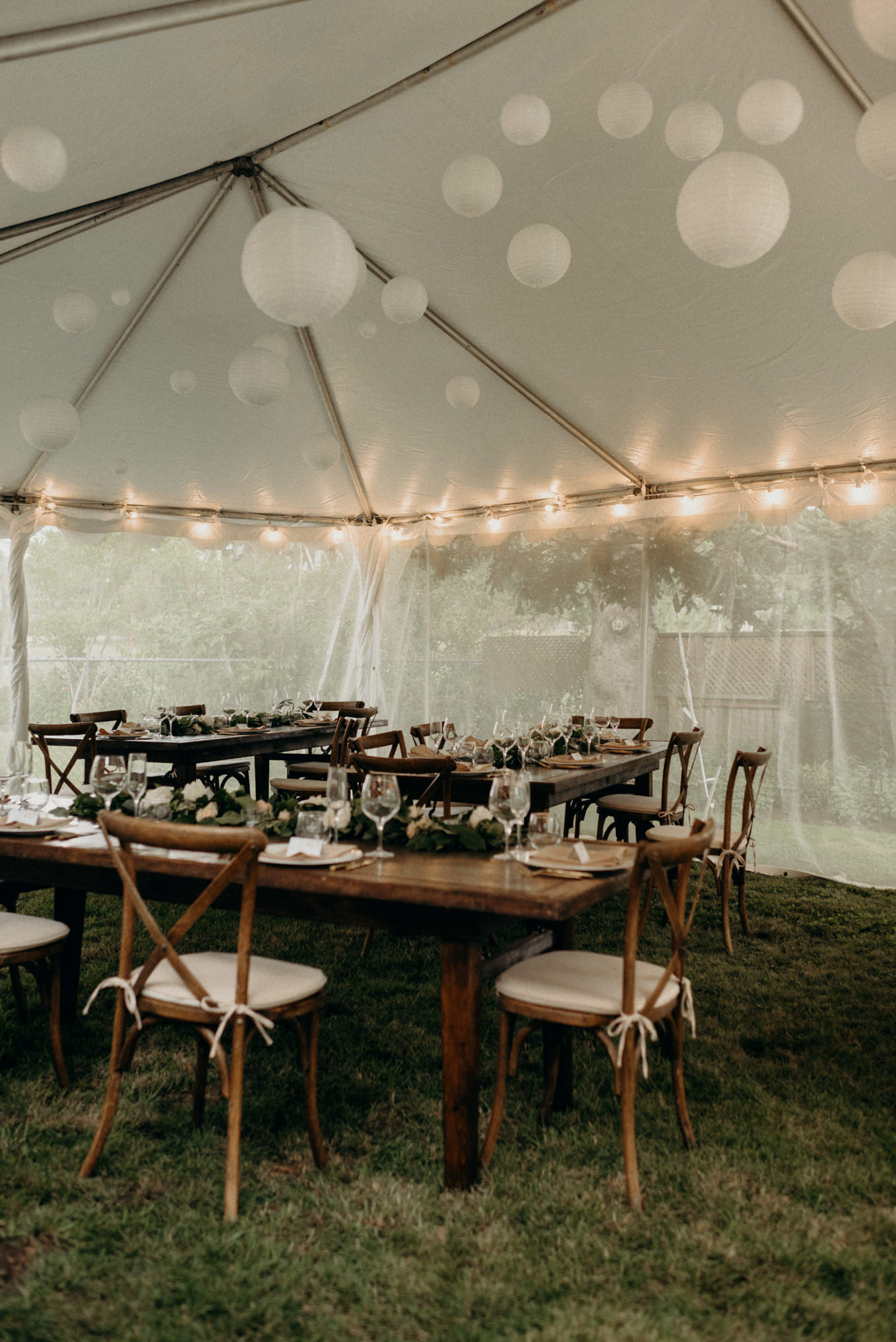 pandemic backyard wedding in a tent