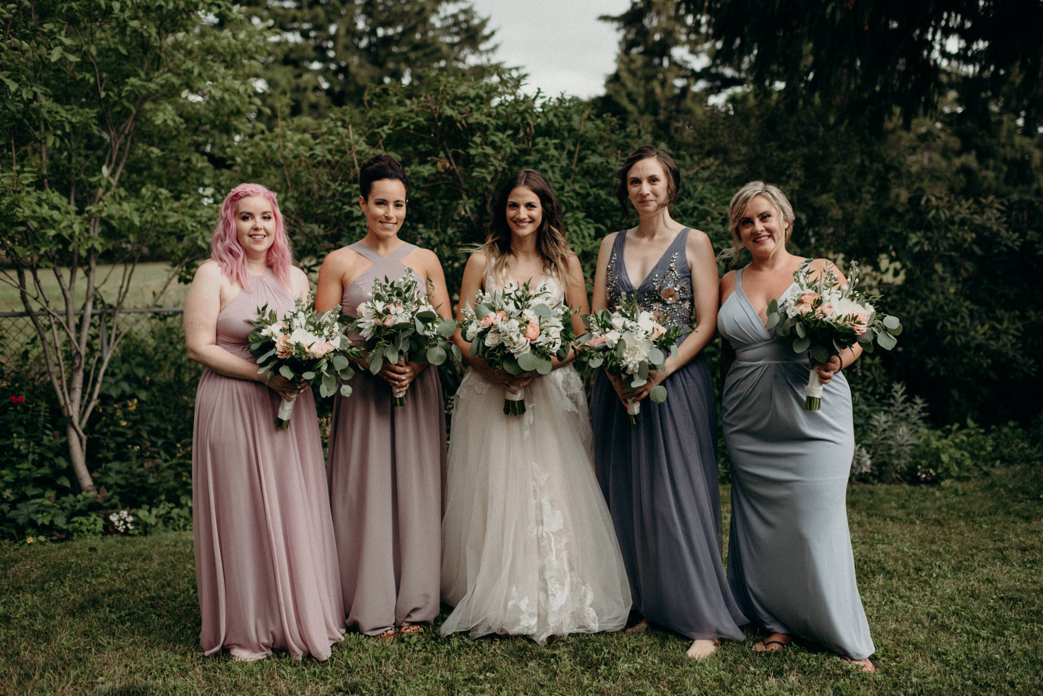 bridesmaids, backyard wedding portrait