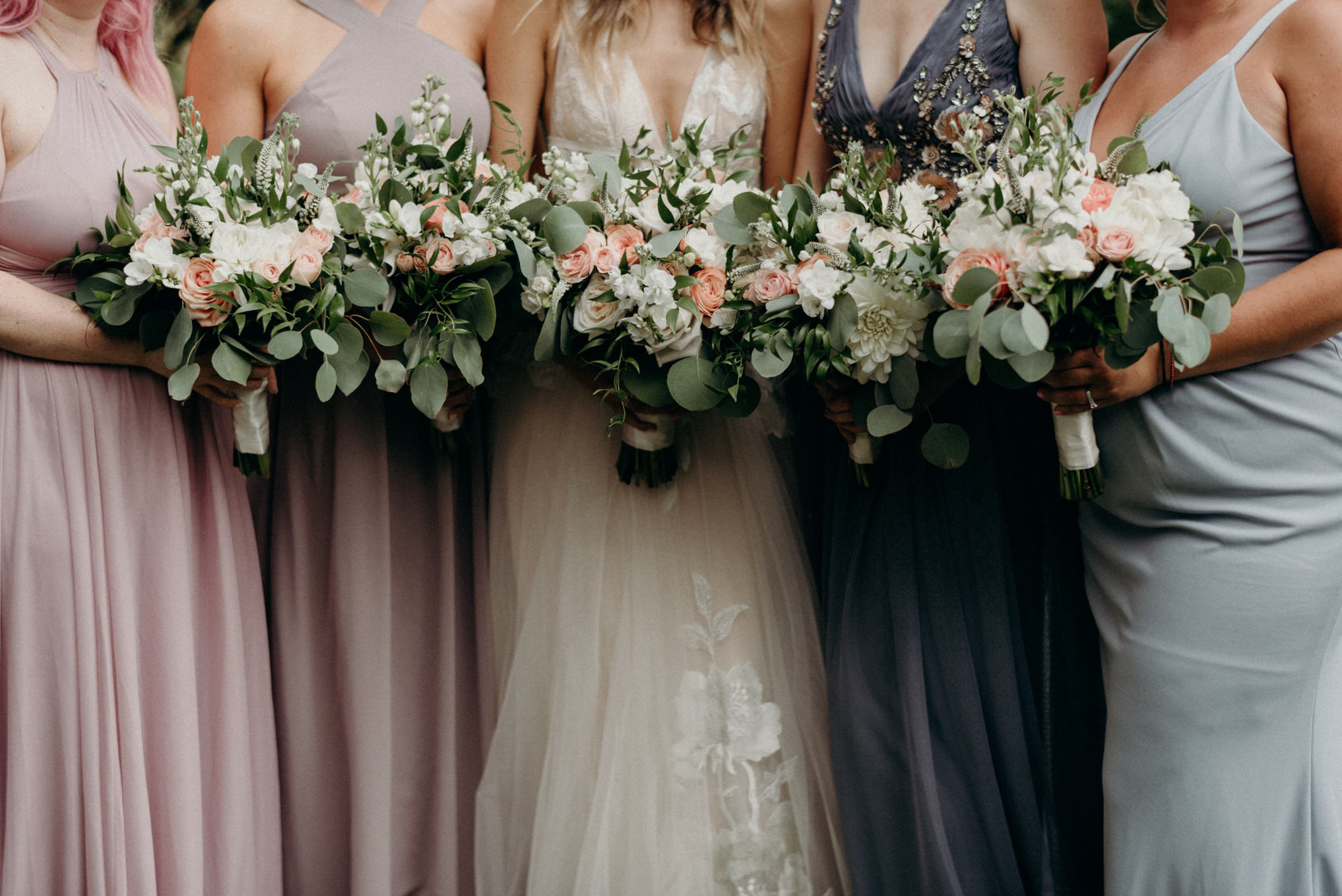 backyard wedding, bridesmaids