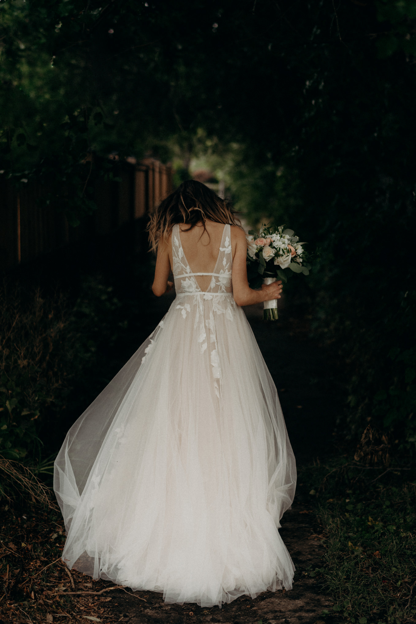 bride walking down alley