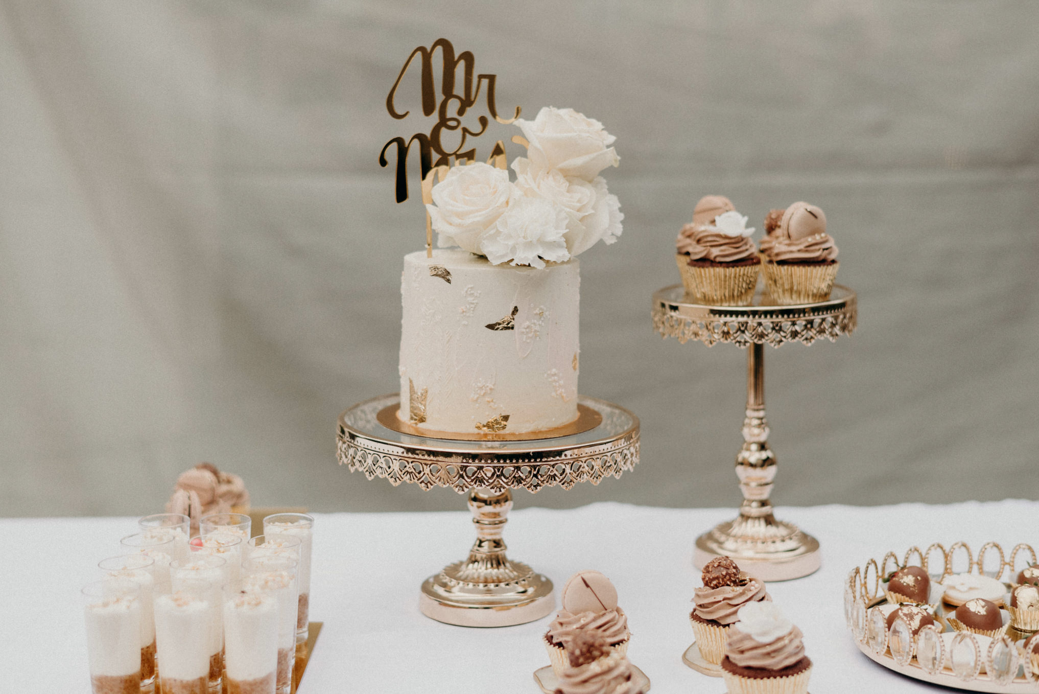 cake and cupcake table at wedding