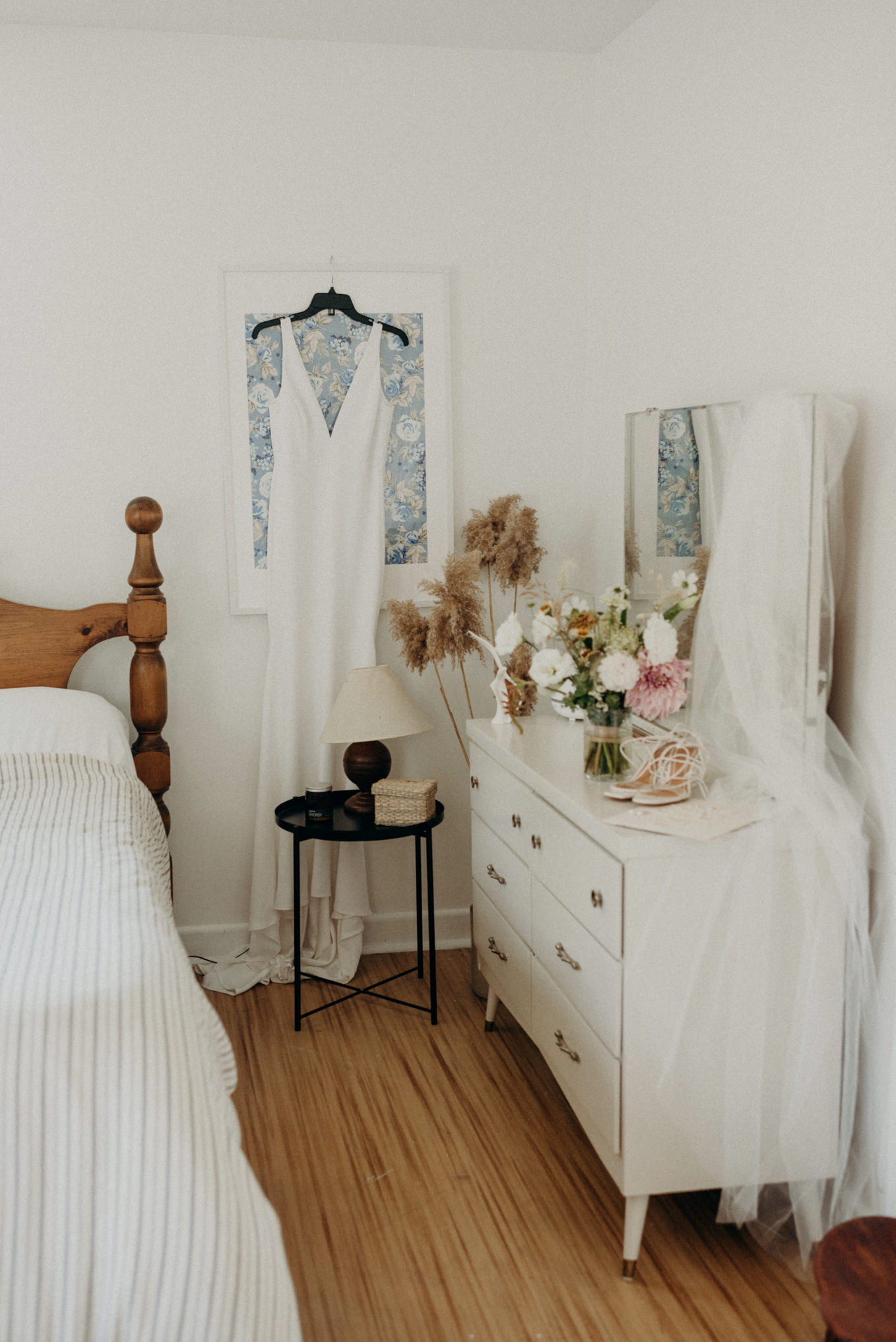 wedding dress and shoes in old farmhouse bedroom