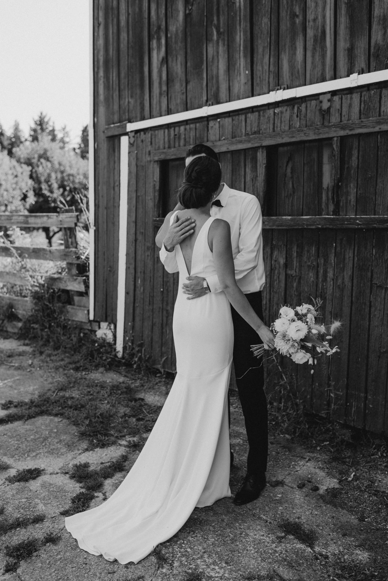 classy bride and groom, fashionable wedding attire