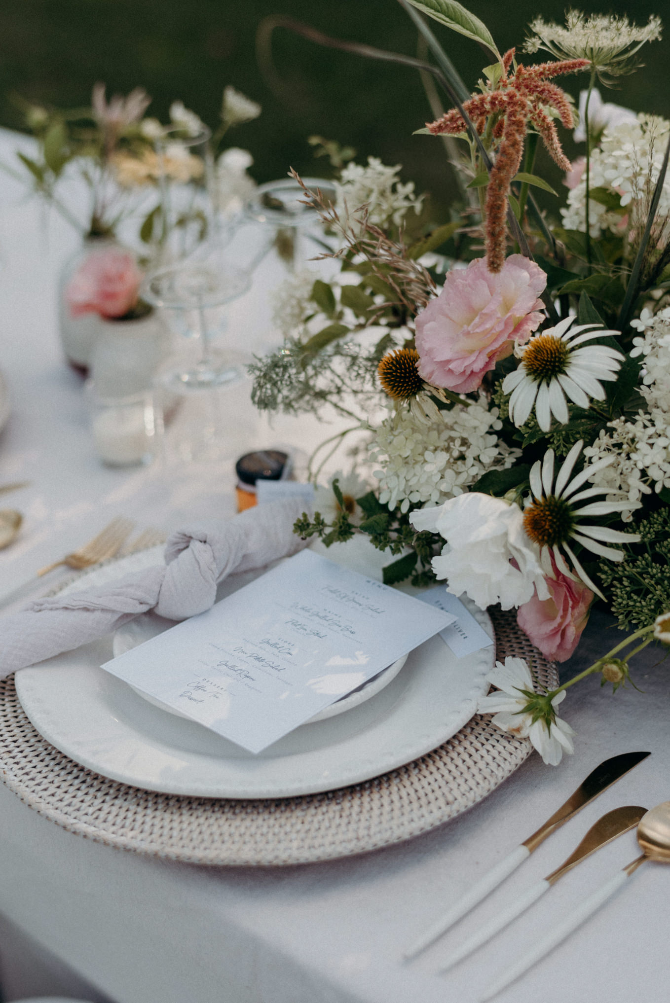 french countryside inspired table setting for outdoor wedding in Ontario, reverie farm wedding