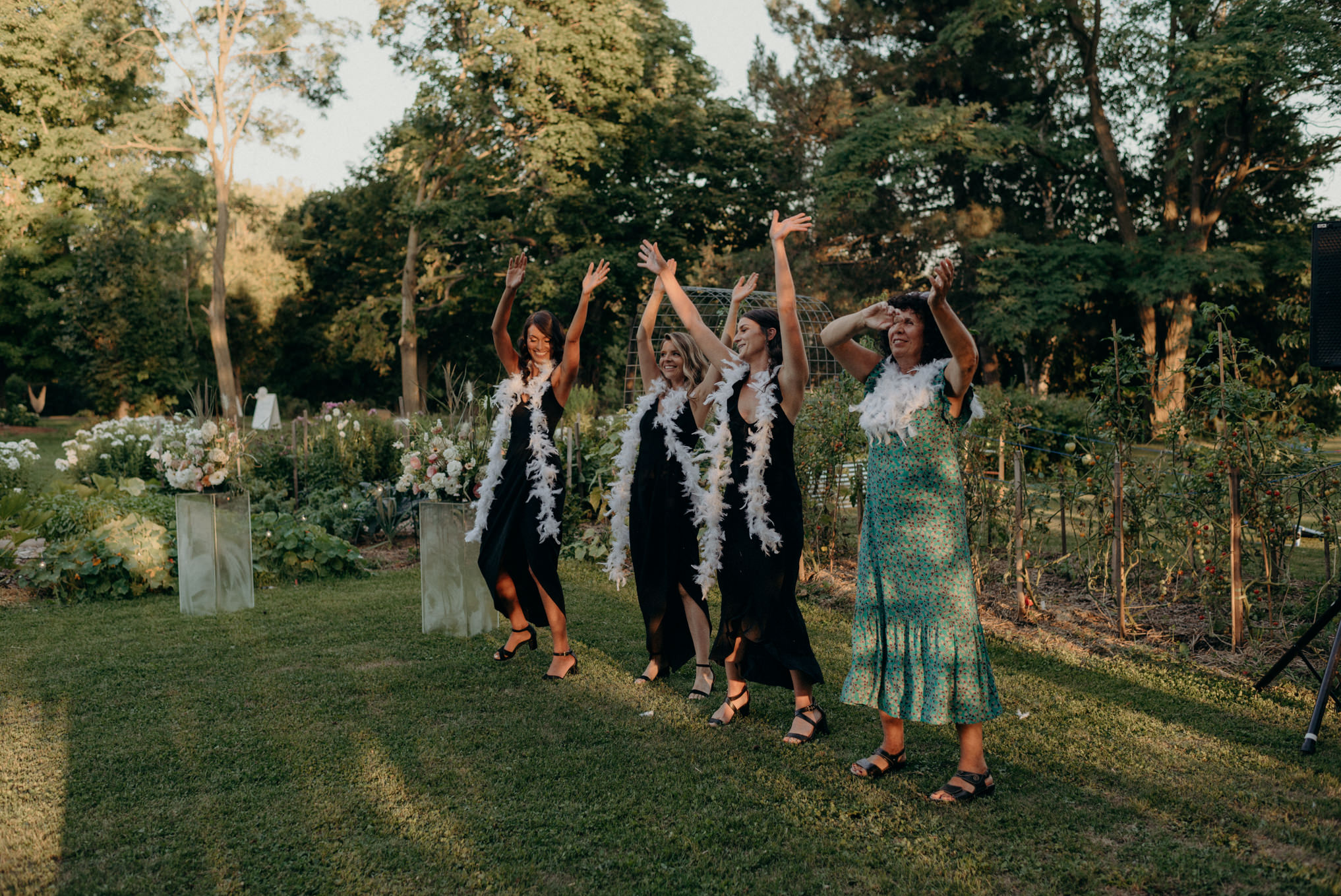 guests dancing at wedding outdoors on grass