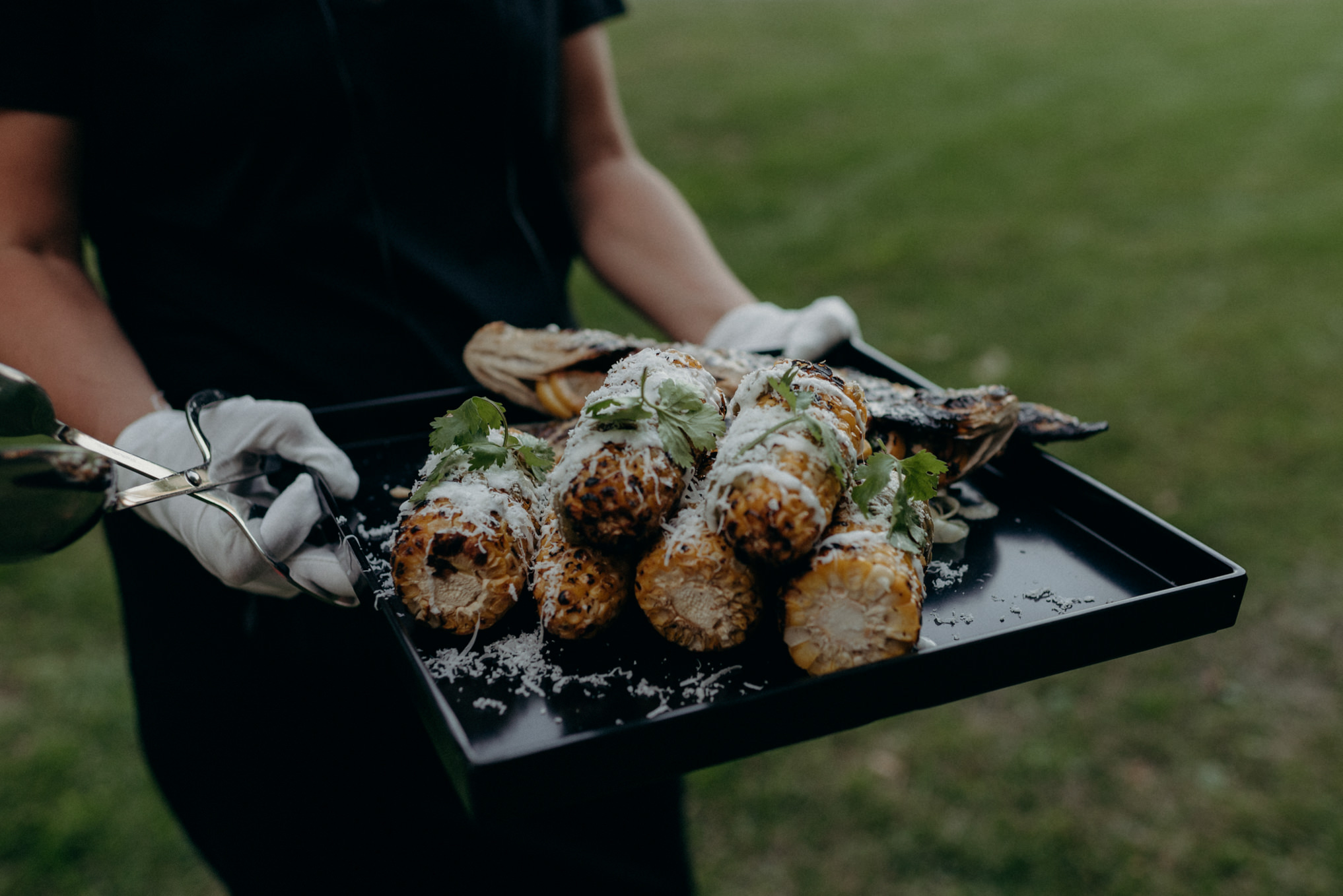 bbq corn for outdoor wedding dinner