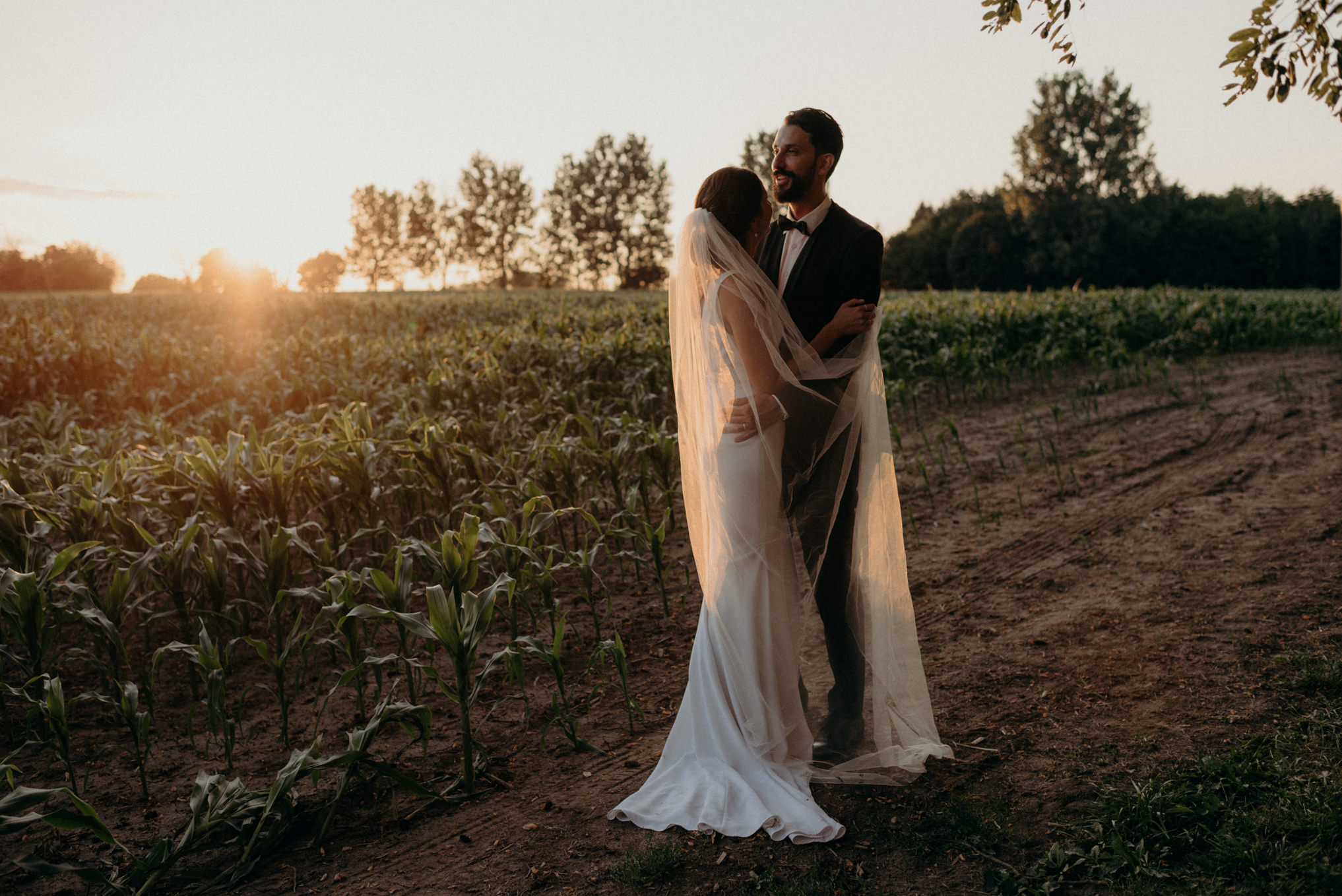 sunset portrait of wedding couple hugging in a field