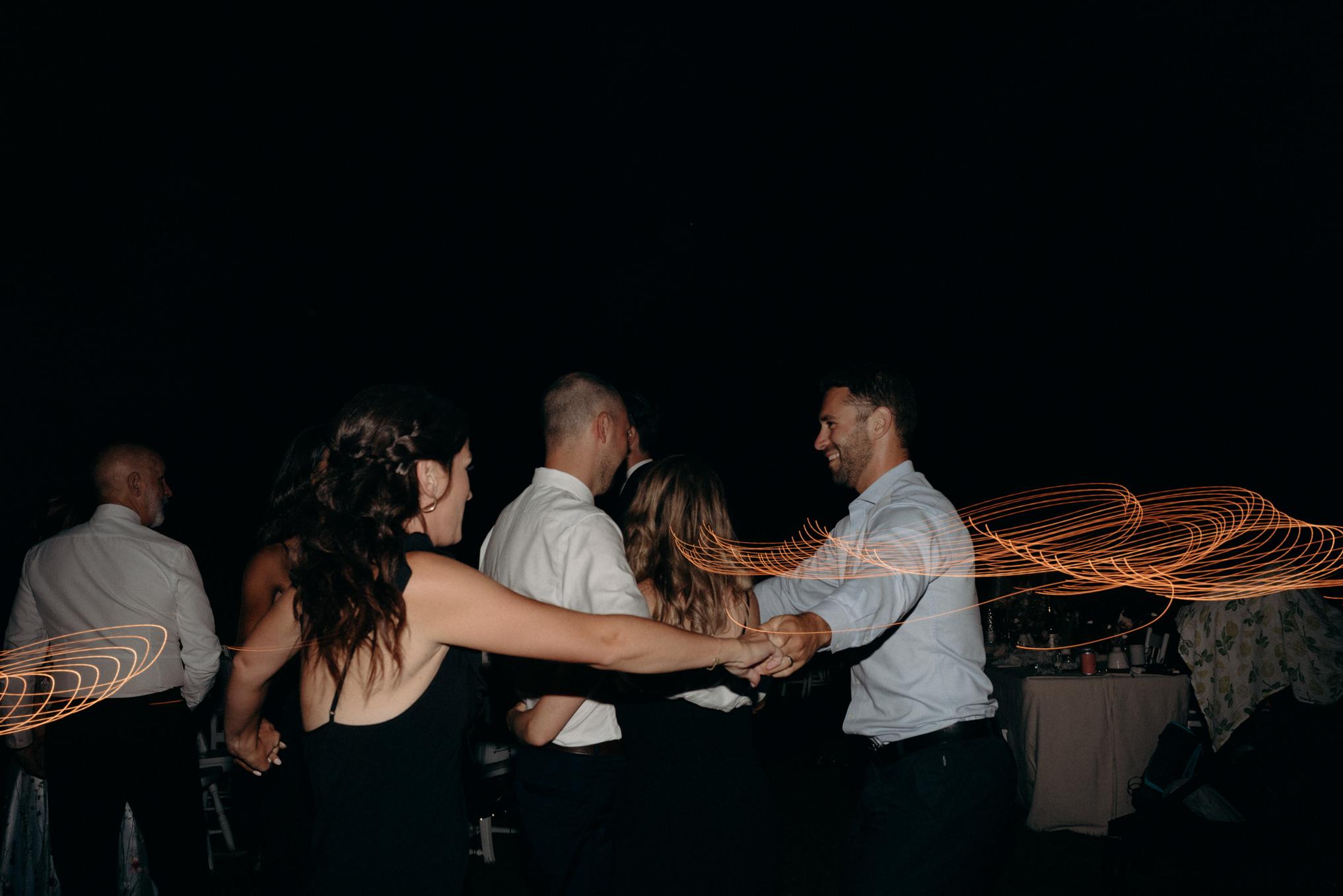 guests dancing at outdoor wedding in Ontario