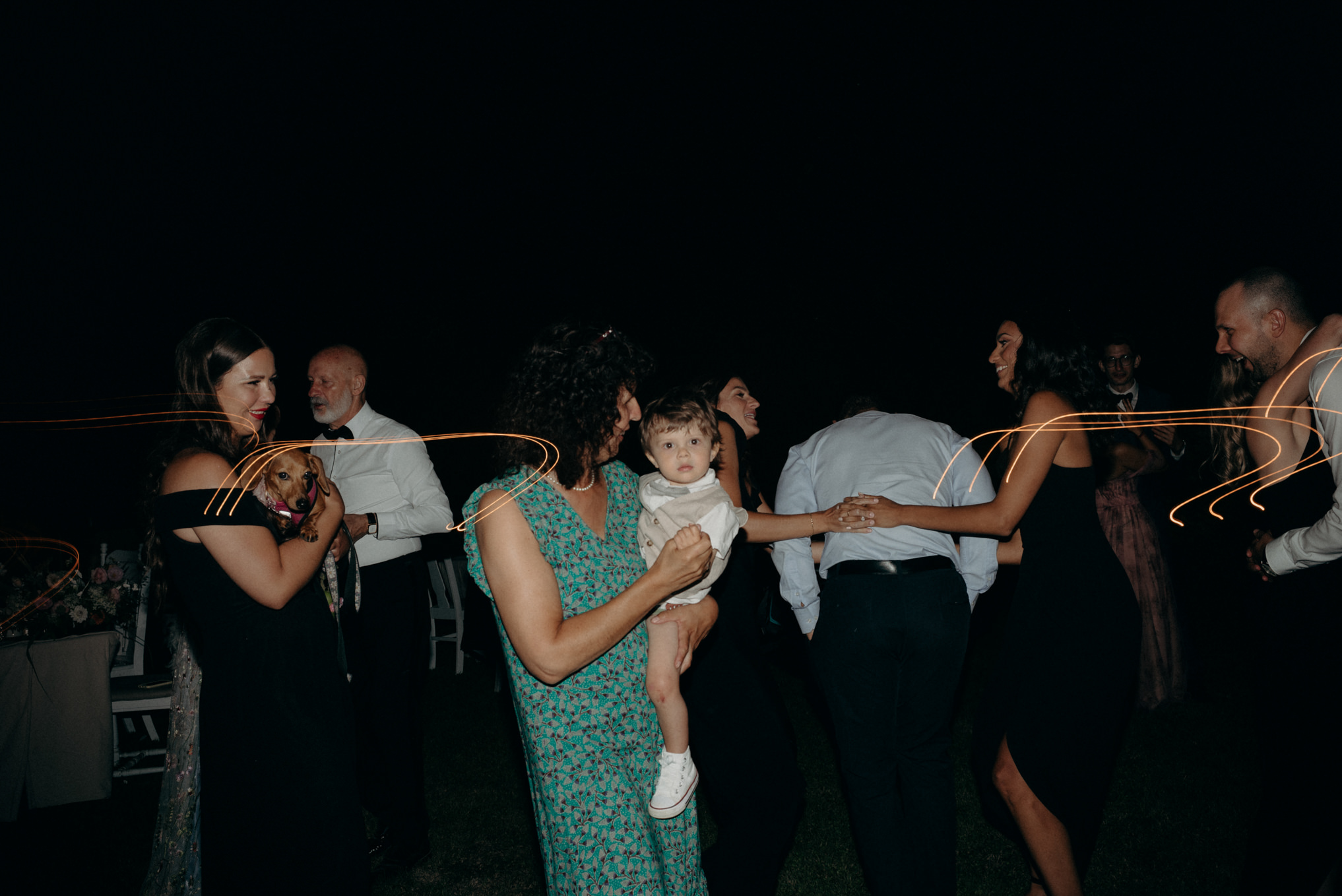 guests dancing outside at outdoor wedding in Ontario