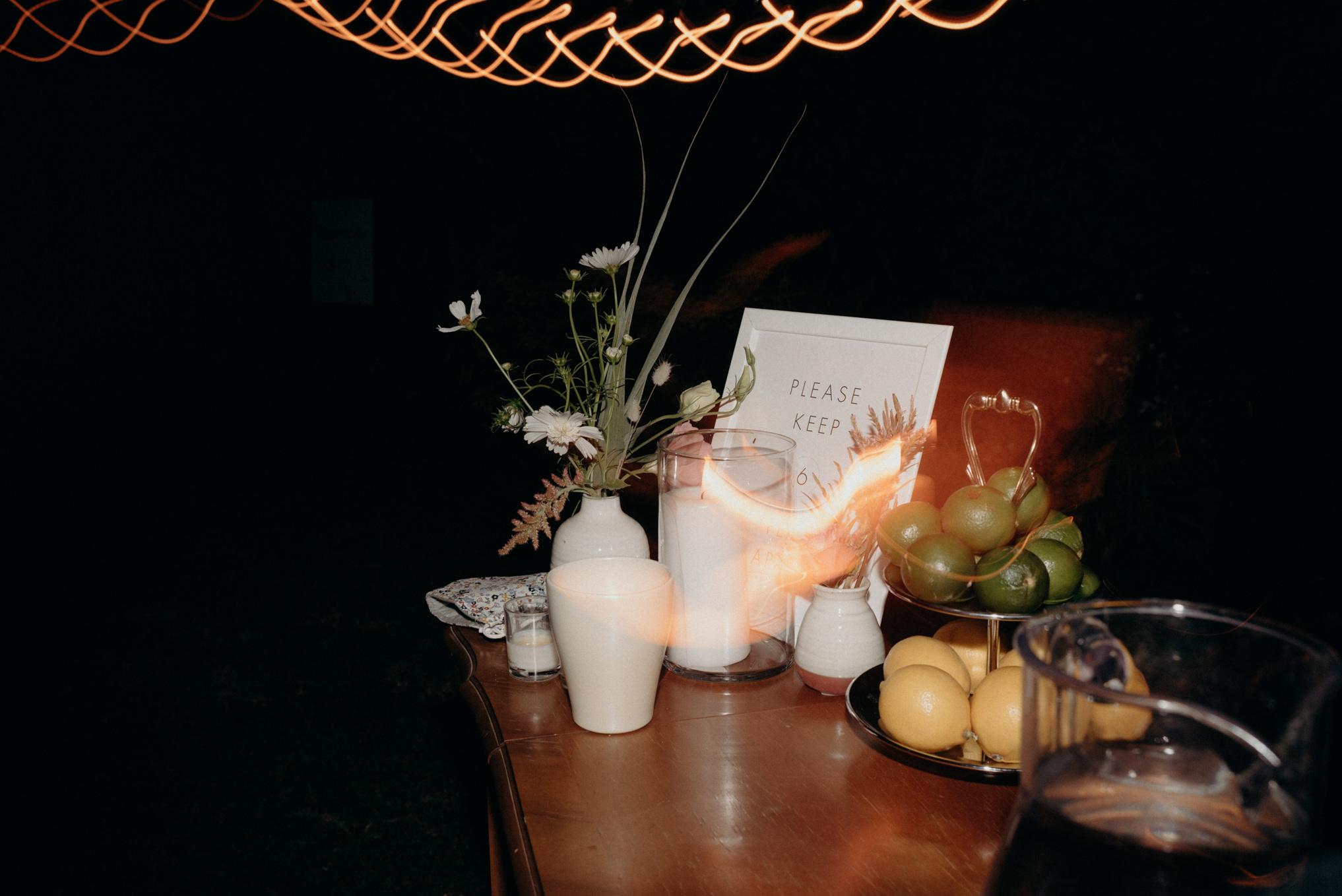 bar at night, wedding reception