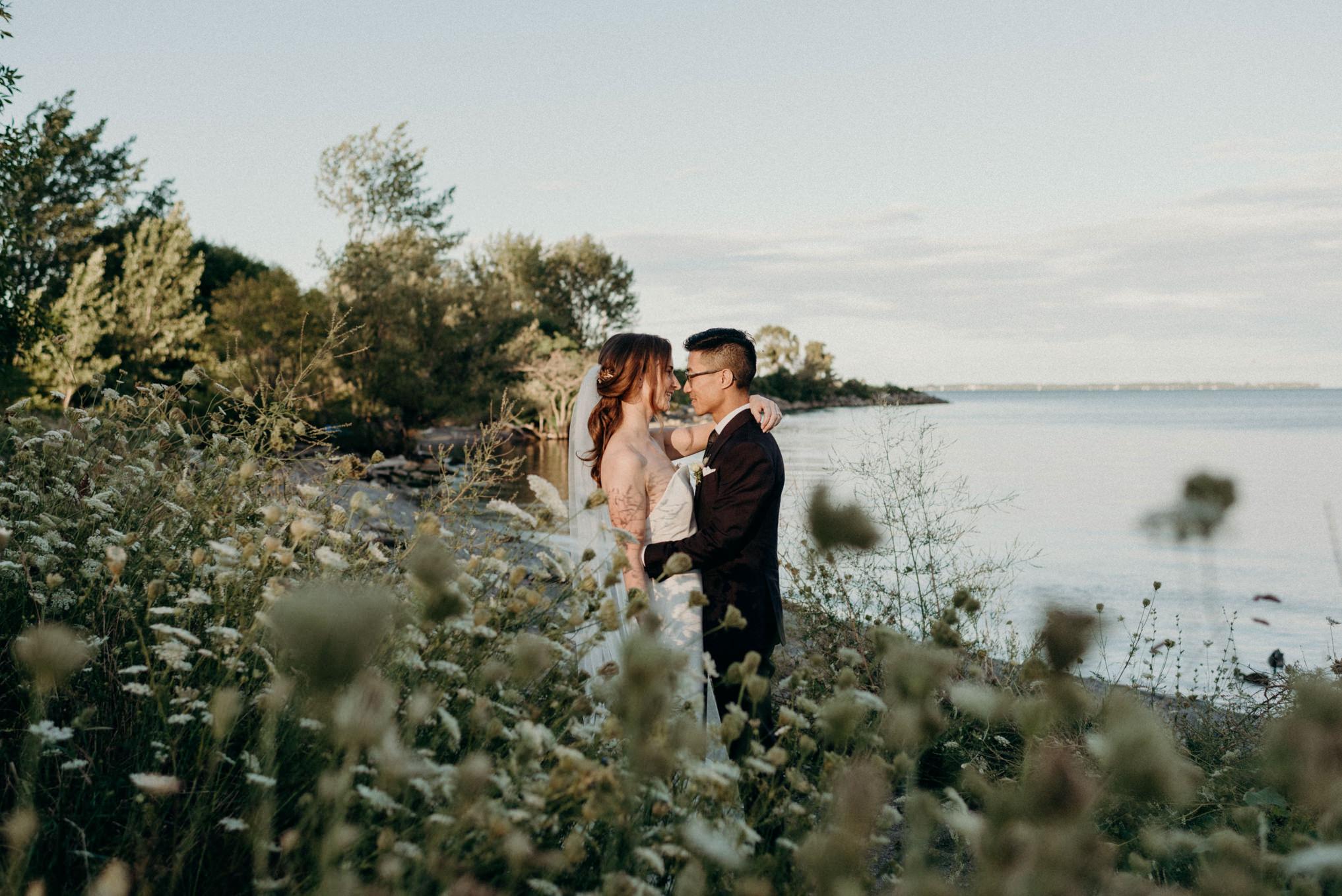 Humber Bay wedding portraits at sunset