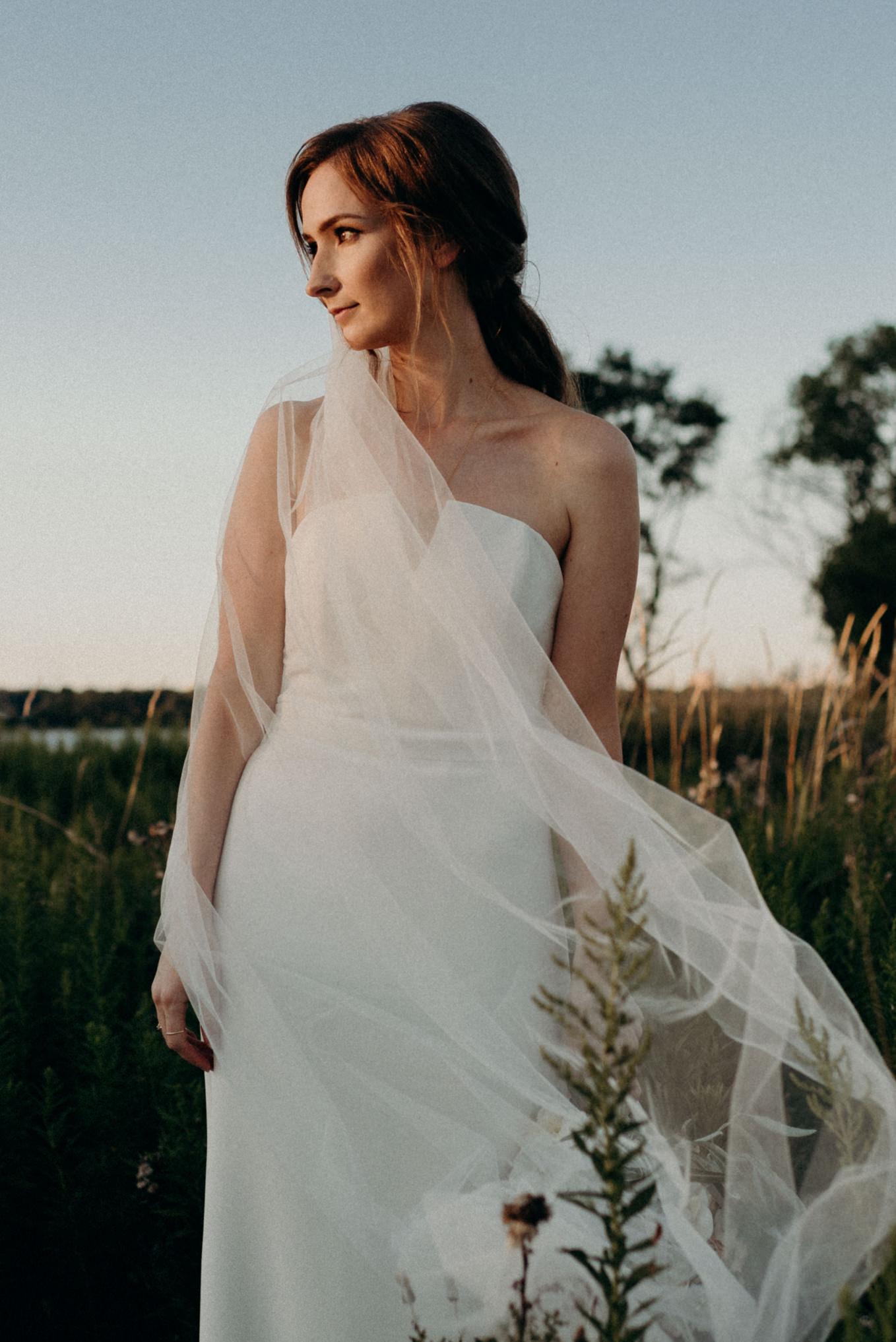 Bride in Humber Bay park, elopement in Toronto
