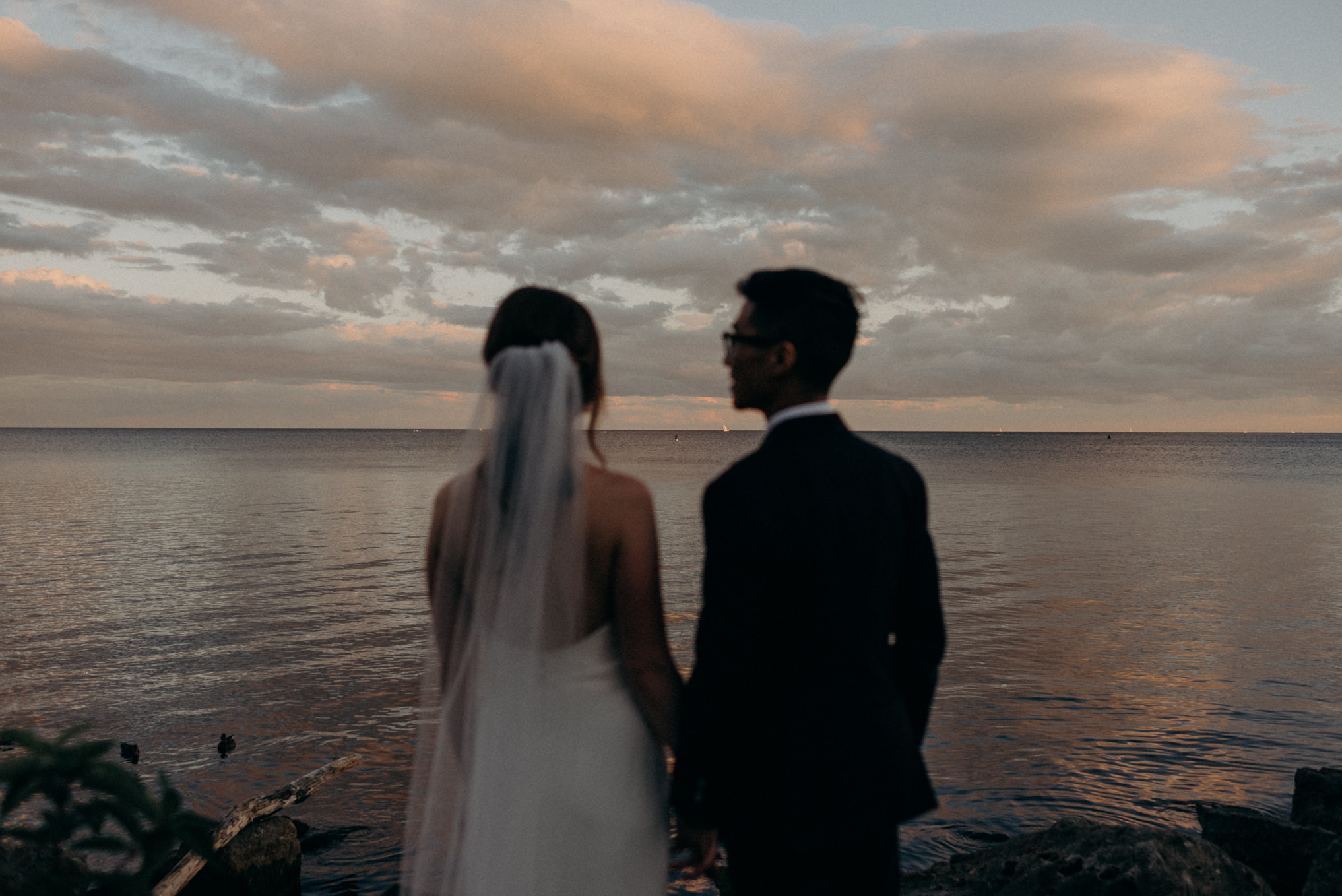 bride and groom looking out onto water at sunset at Humber bay. Toronto elopement.