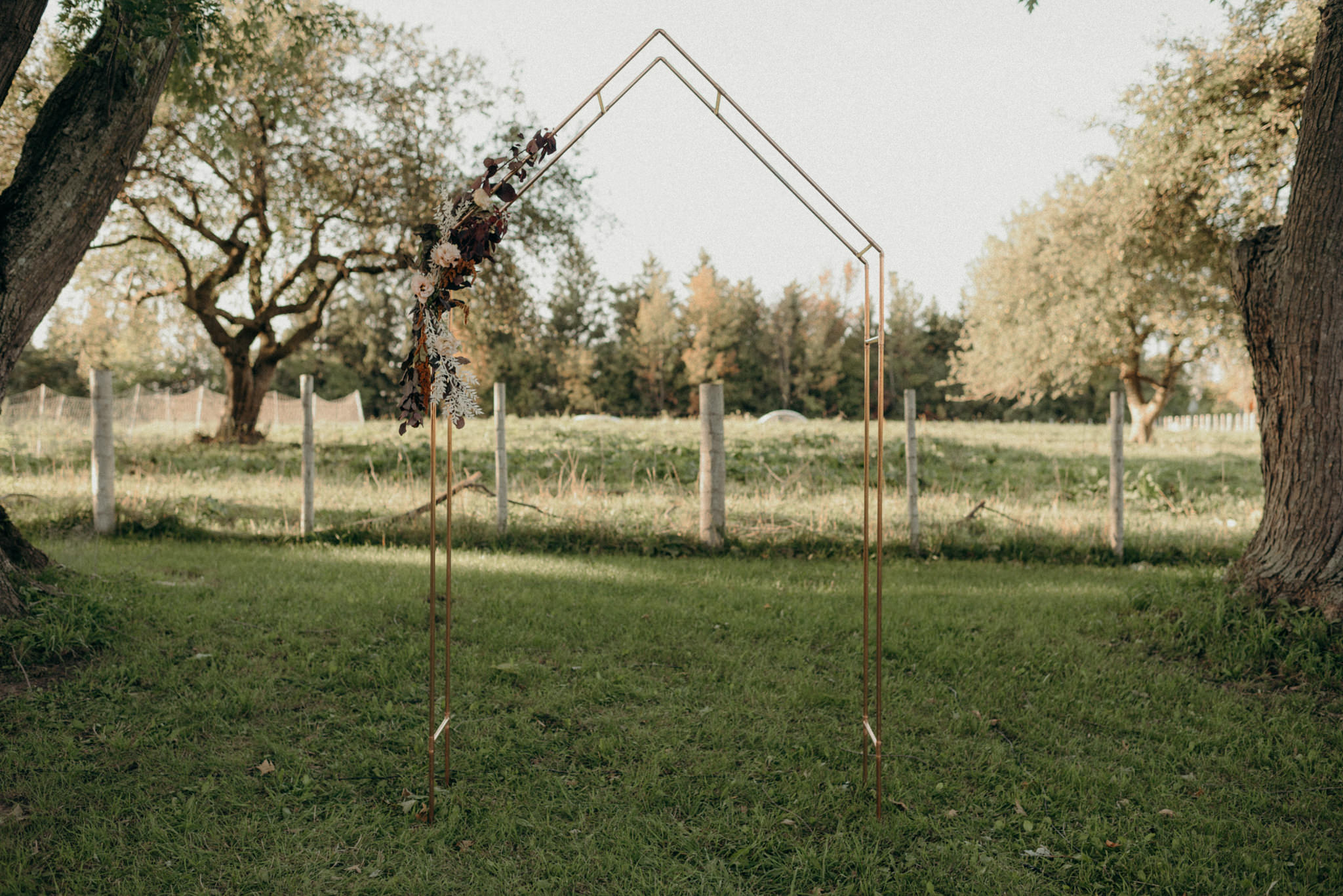 copper ceremony floral arch