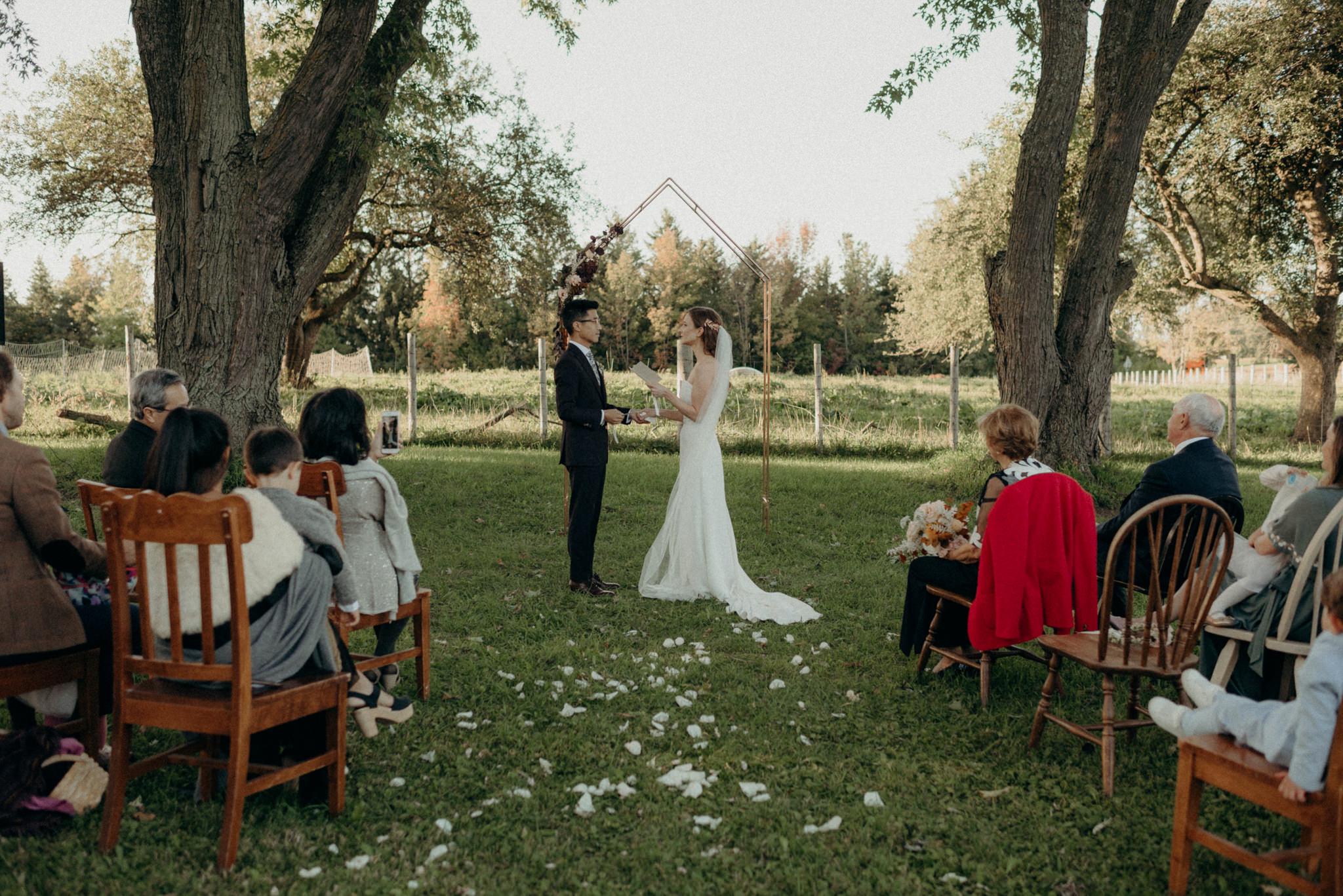 outdoor ceremony Good Family Farms wedding