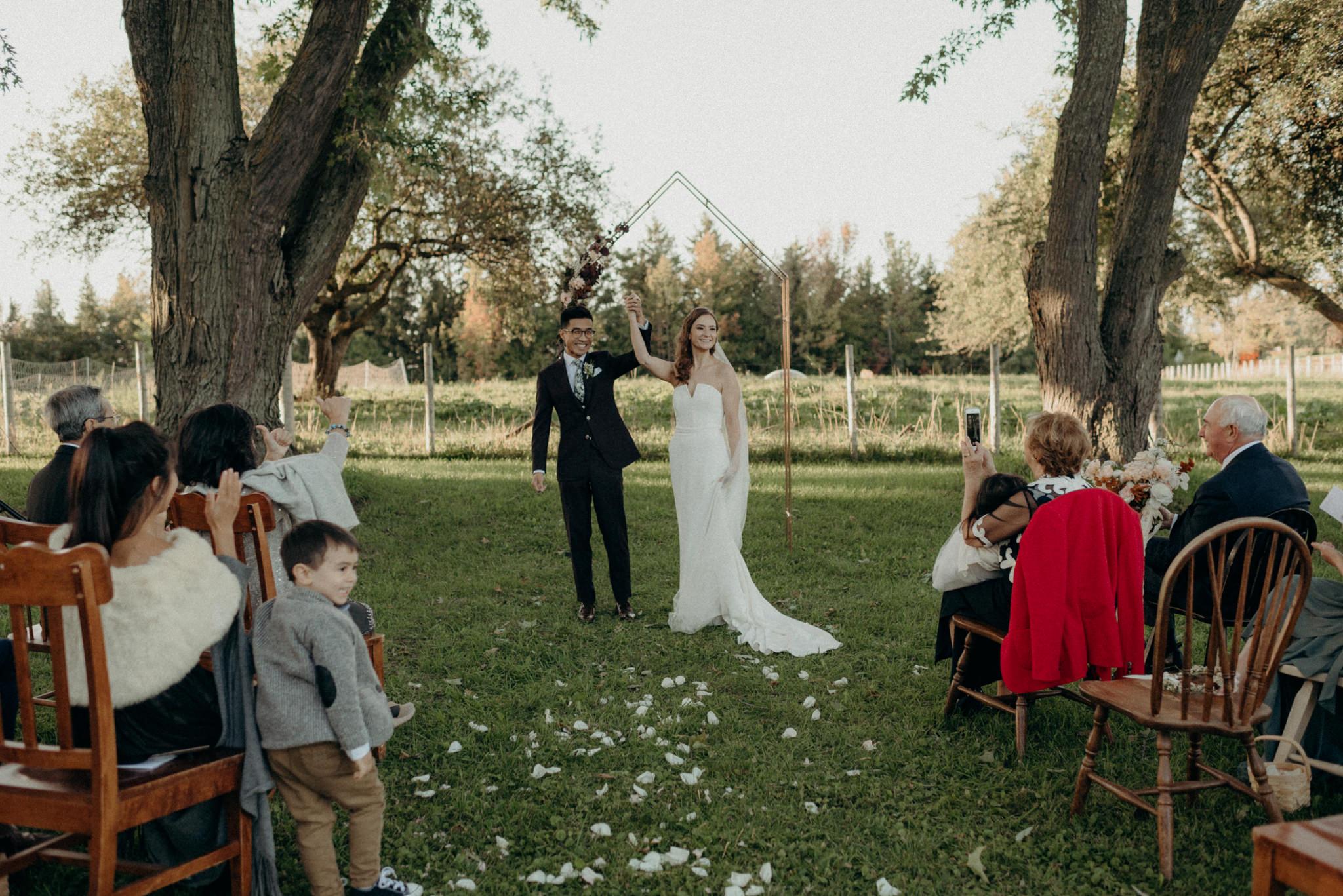 Couple celebrating after wedding ceremony