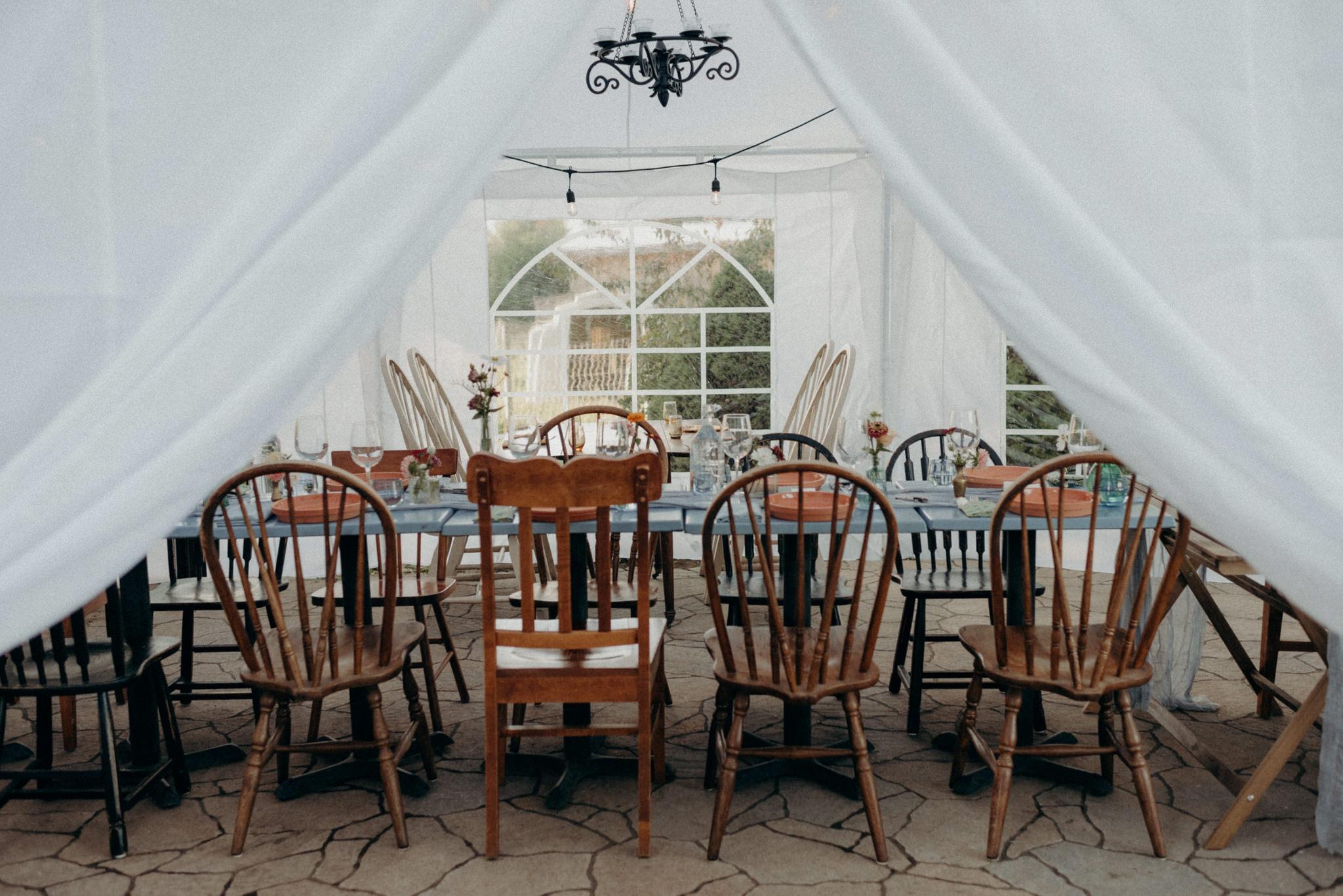 Intimate tent reception, intimate wedding. Good Family Farms Wedding.